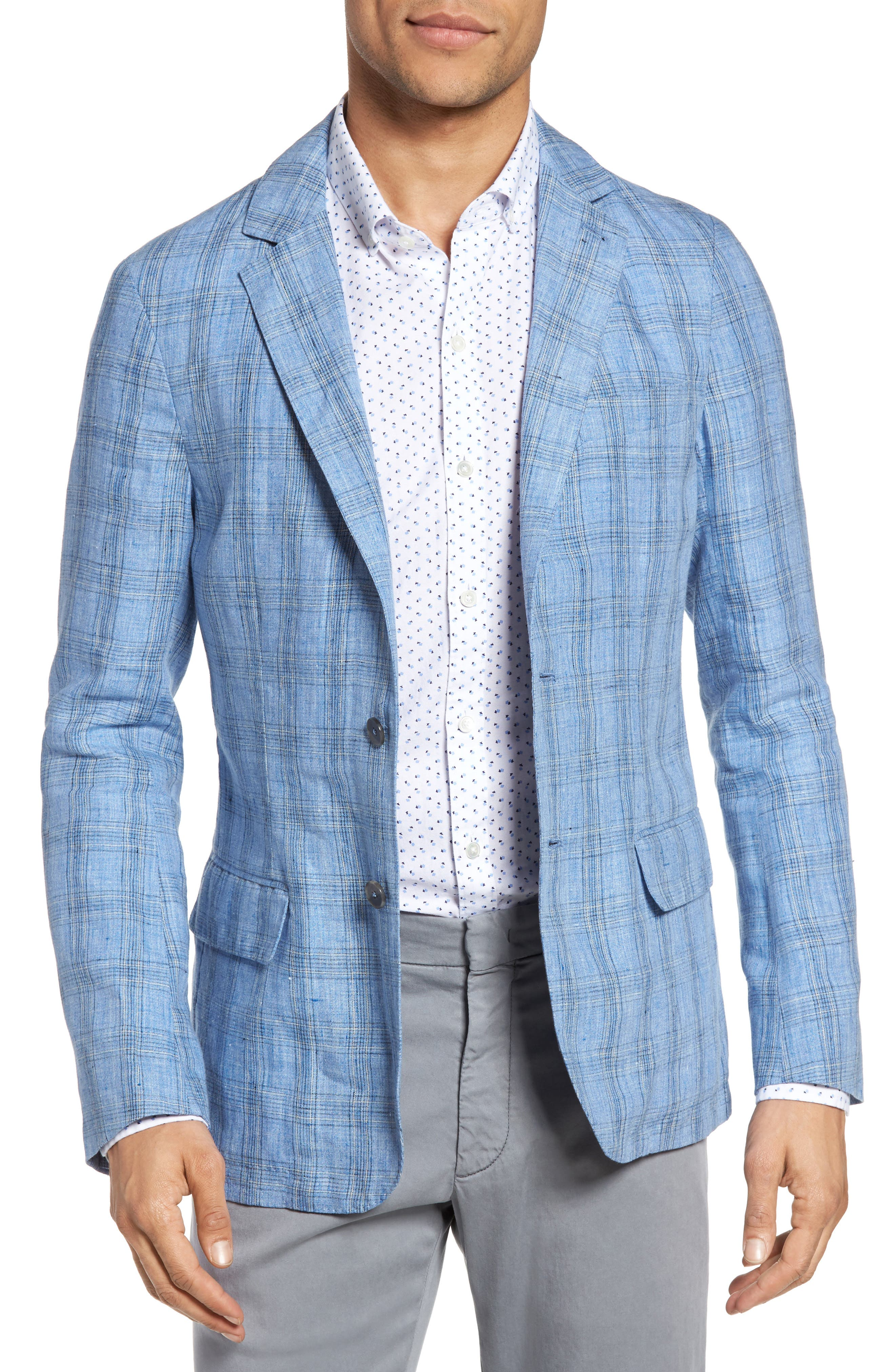 Laxus Plaid Linen Sport Coat,                         Main,                         color, Light Blue