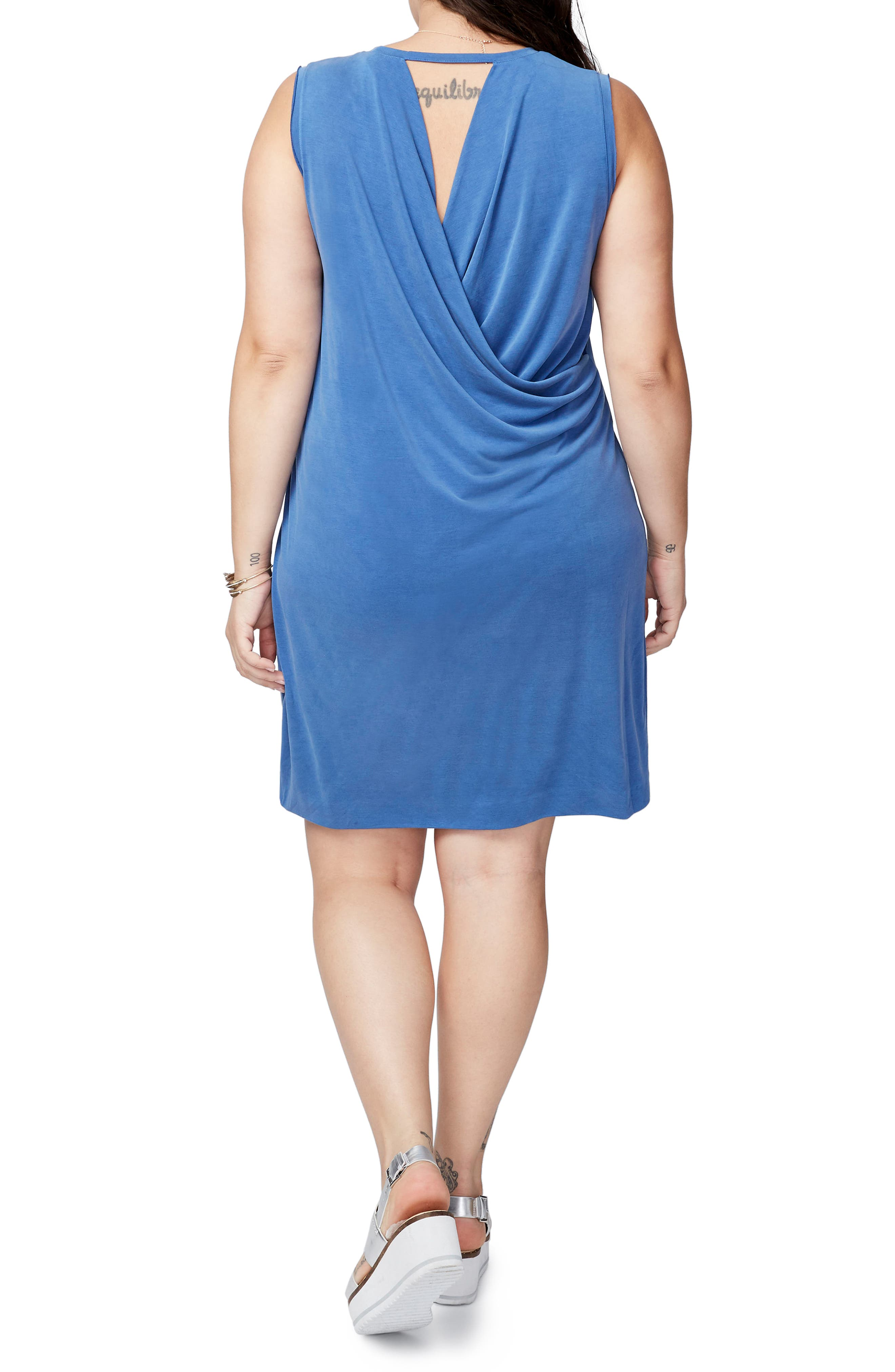 Draped Jersey Crossback Dress,                             Alternate thumbnail 2, color,                             Chambray