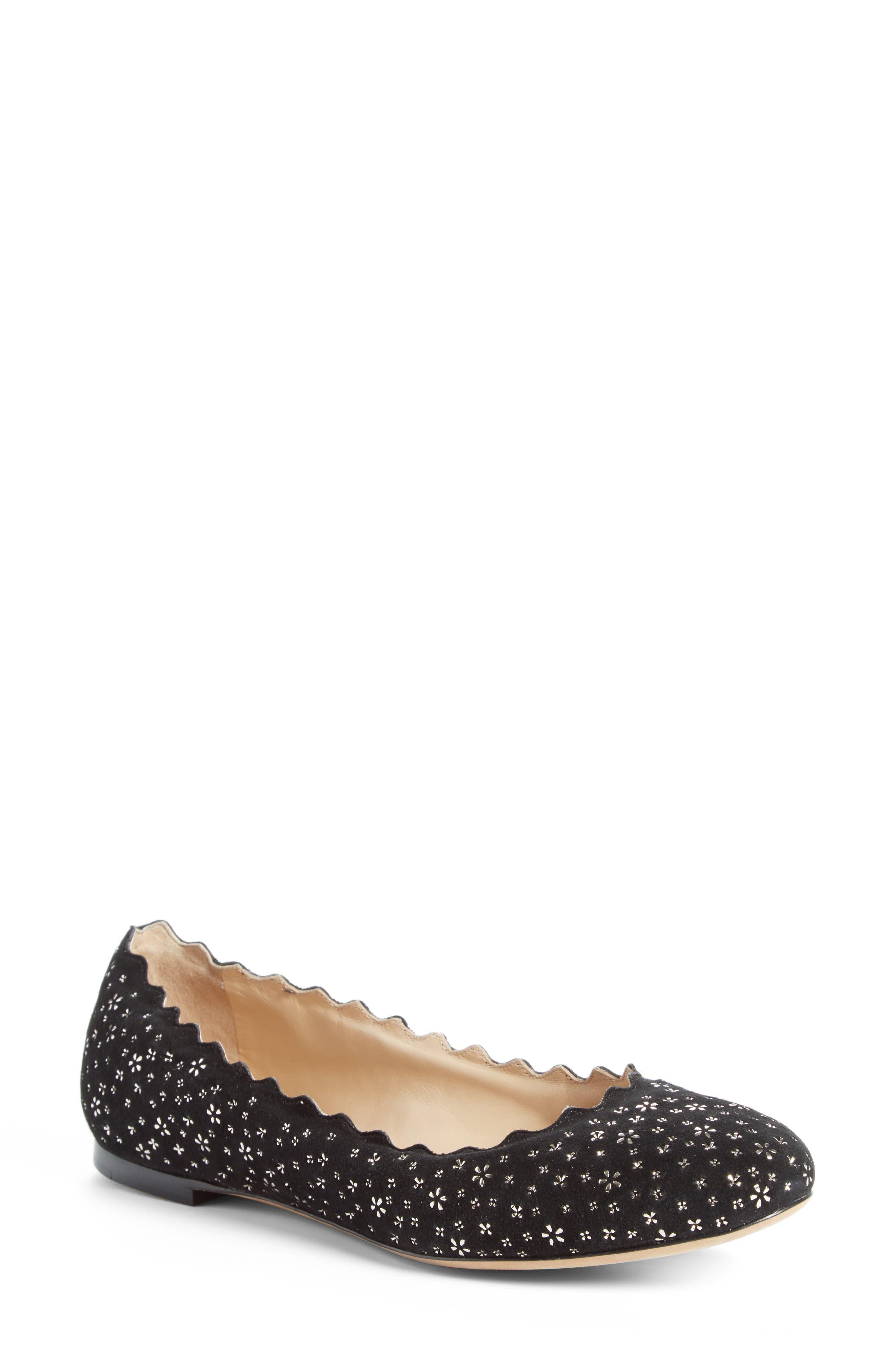 Lauren Scalloped Ballerina Flat,                         Main,                         color, Black Floral