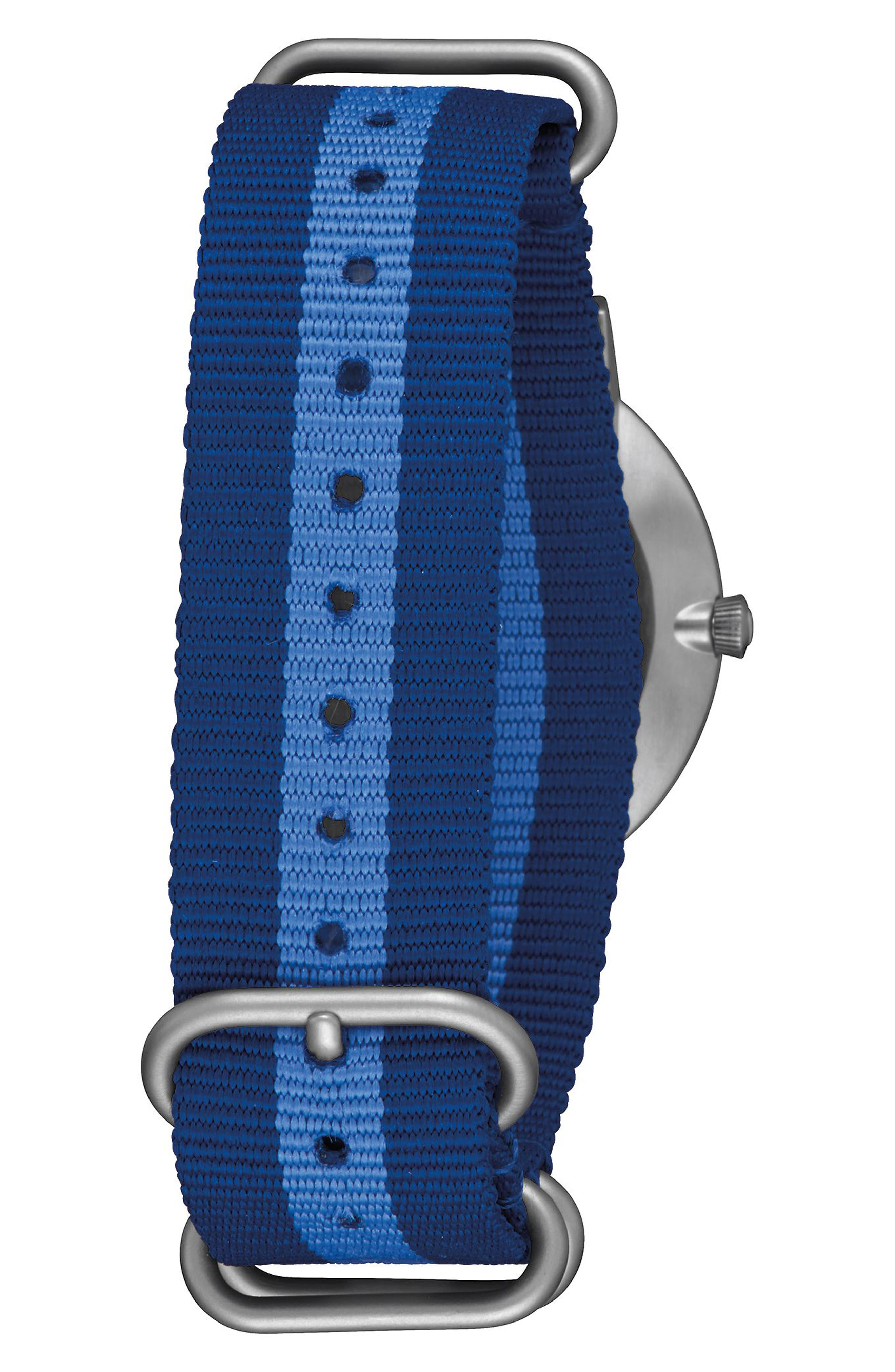 Porter Nylon Strap Watch, 40mm,                             Alternate thumbnail 2, color,                             Navy/ Silver