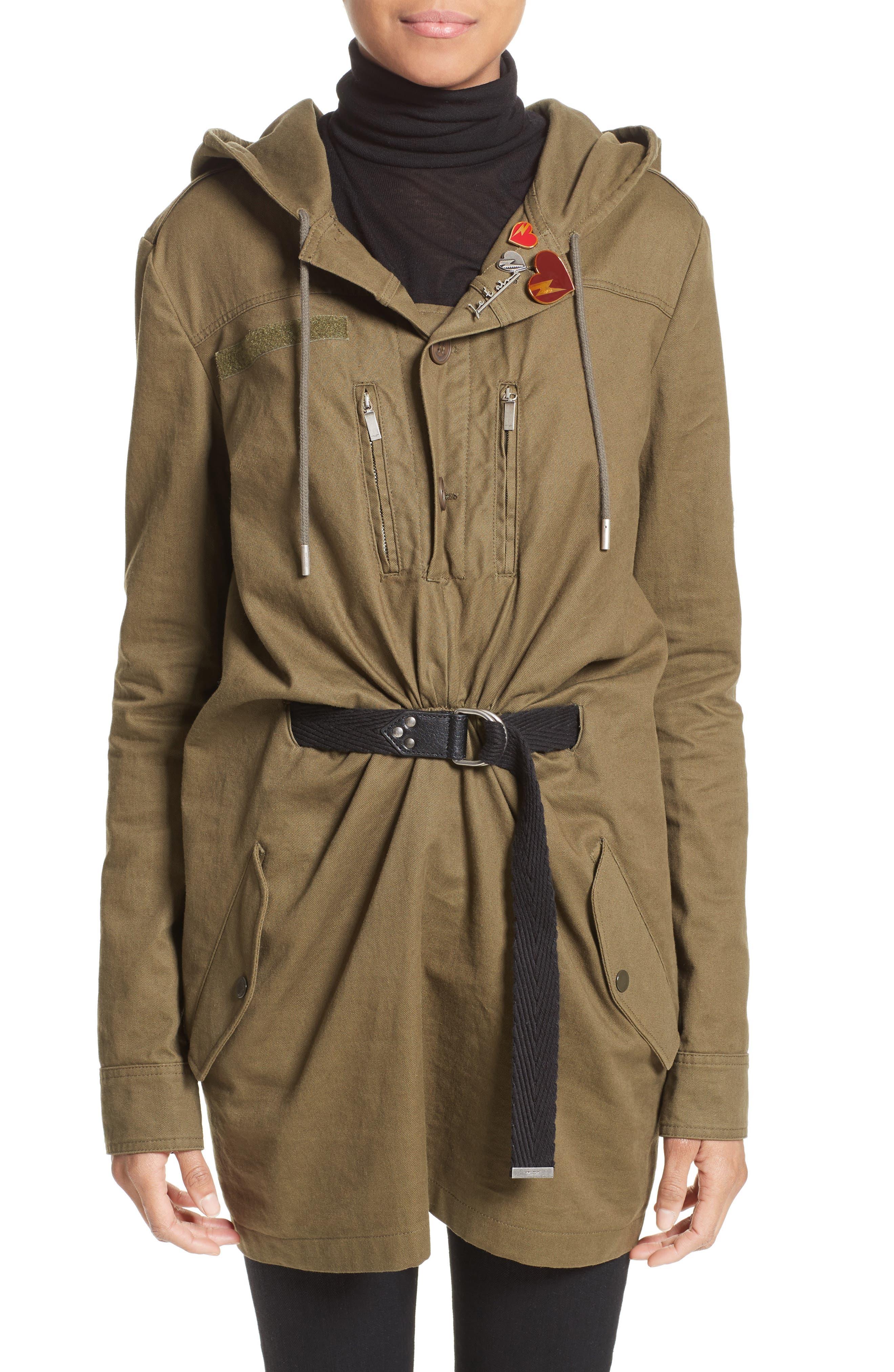 Patch Embellished Cotton Blend Gabardine Dress,                         Main,                         color, Khaki