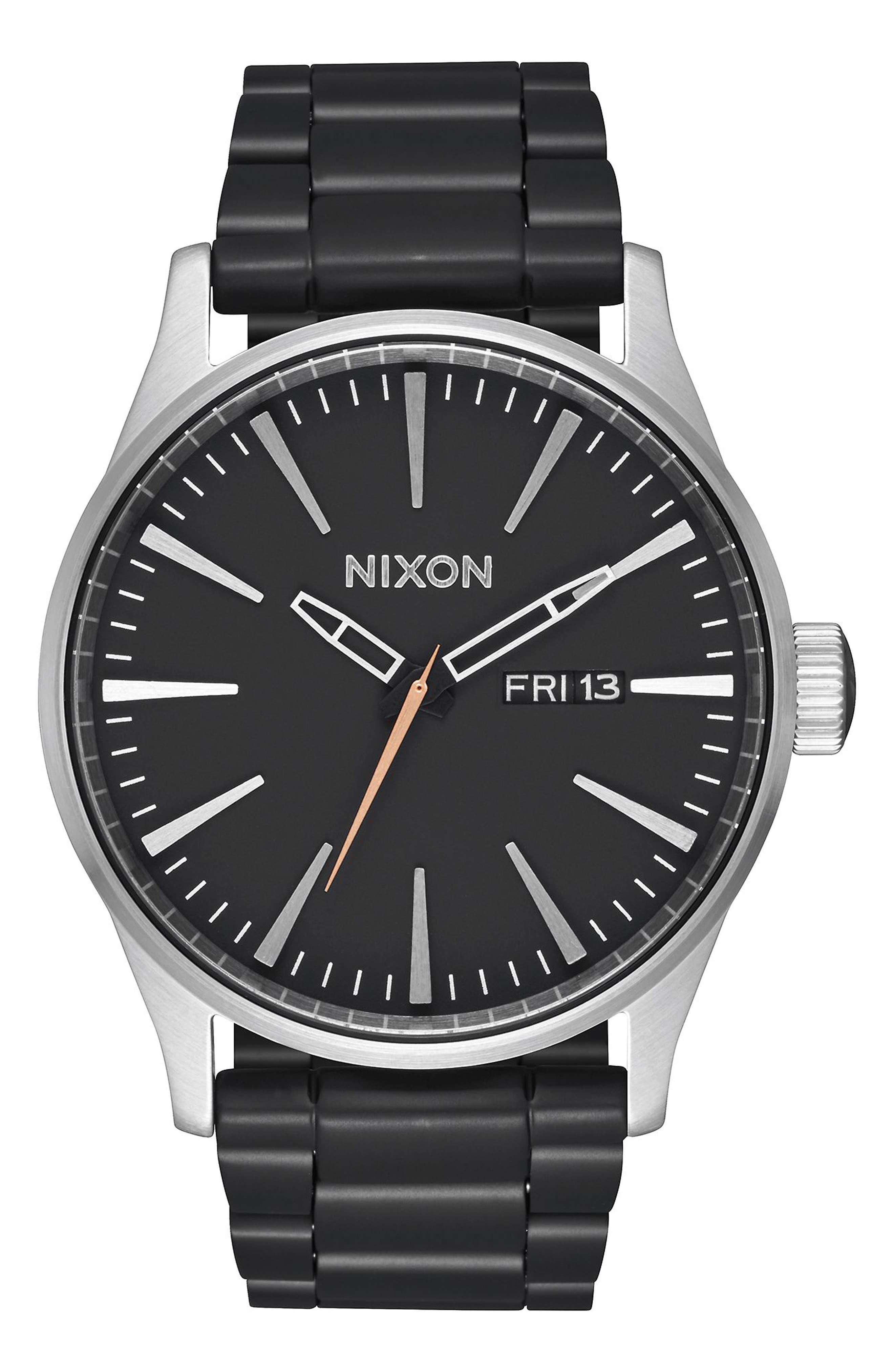 Sentry Bracelet Watch, 42mm,                             Main thumbnail 1, color,                             Black/ Silver