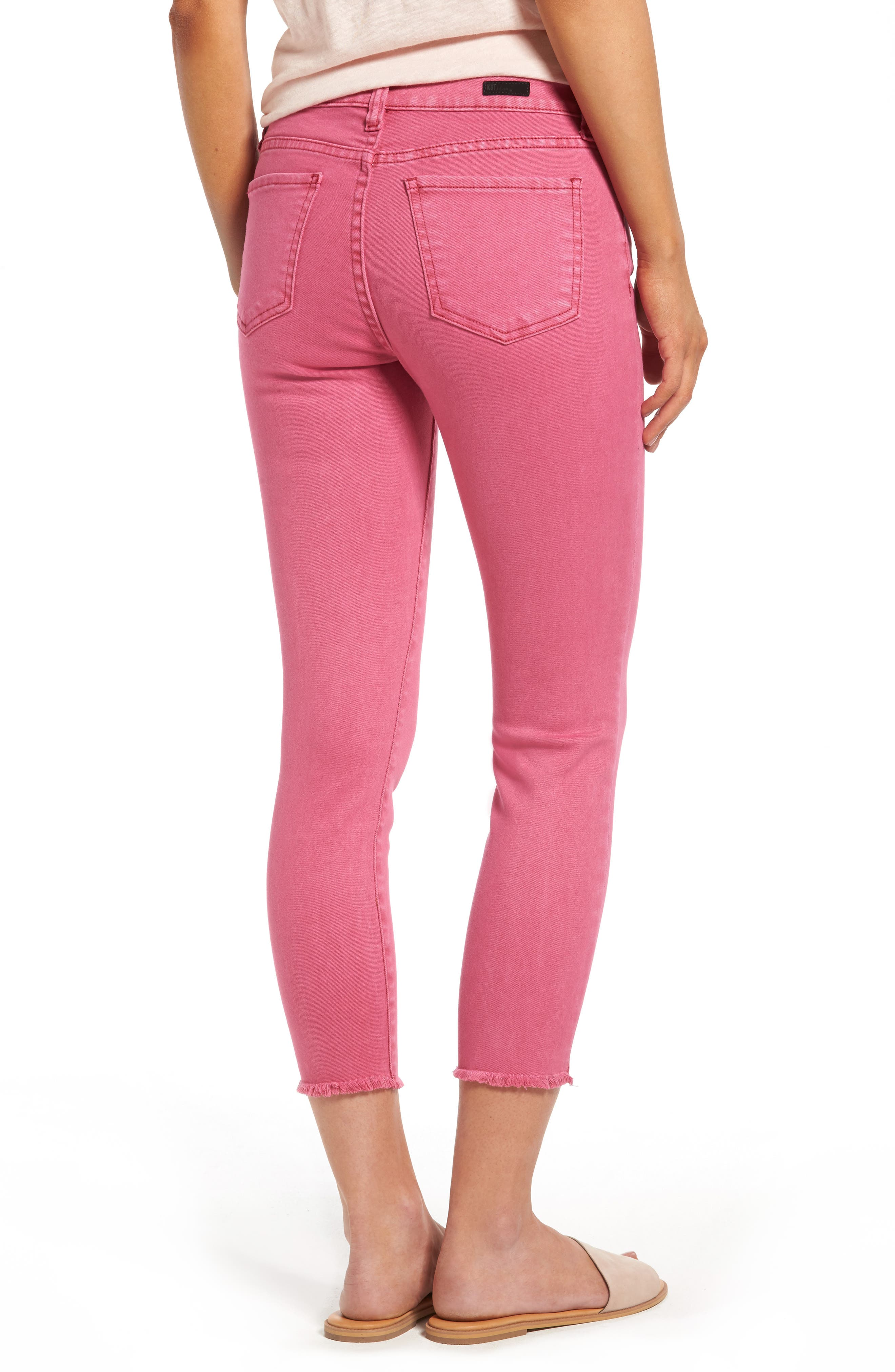 Alternate Image 2  - KUT from the Kloth Connie Frayed Hem Crop Skinny Jeans (Hot Pink)