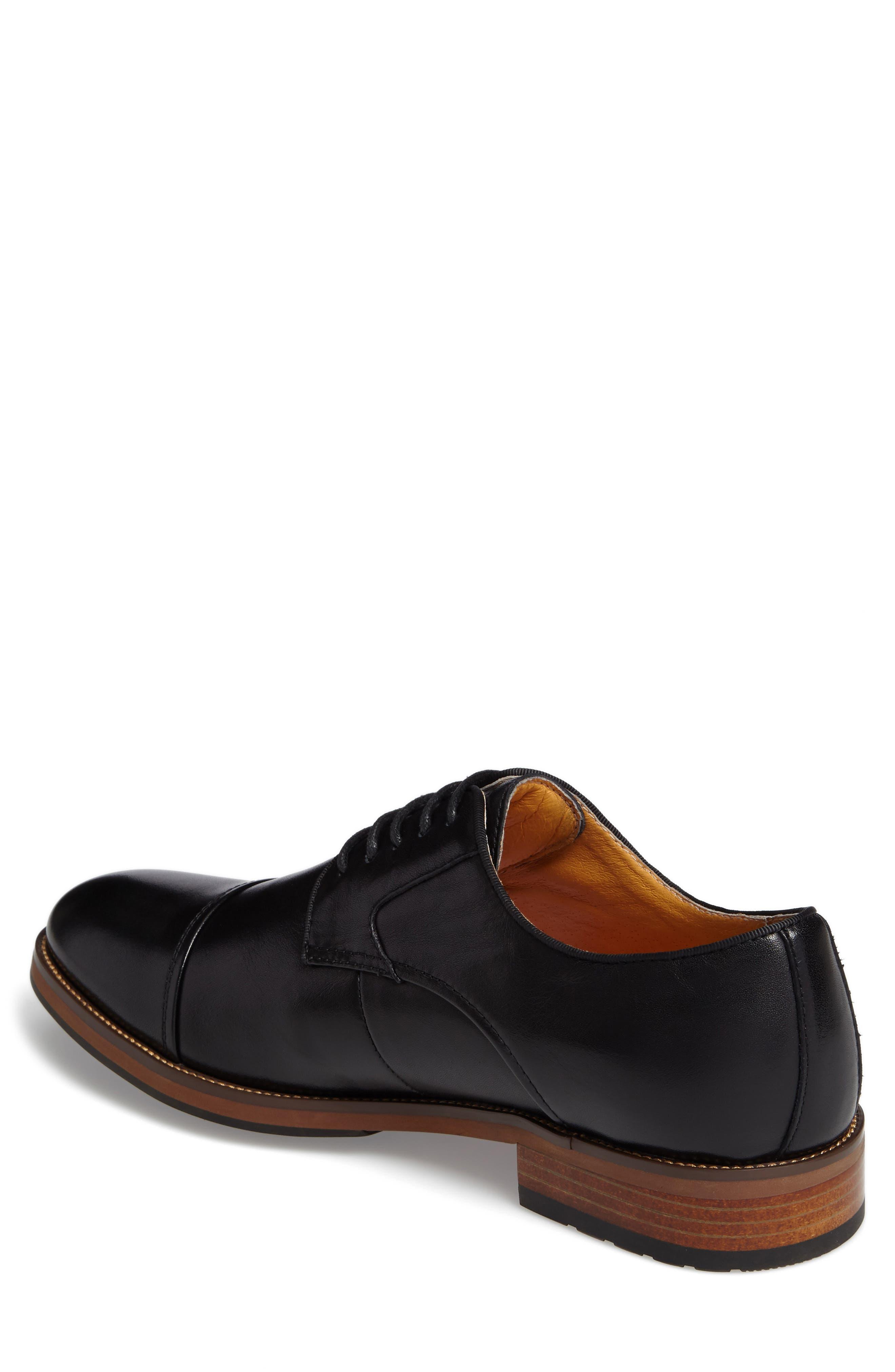 Blaze Cap Toe Derby,                             Alternate thumbnail 2, color,                             Black Leather