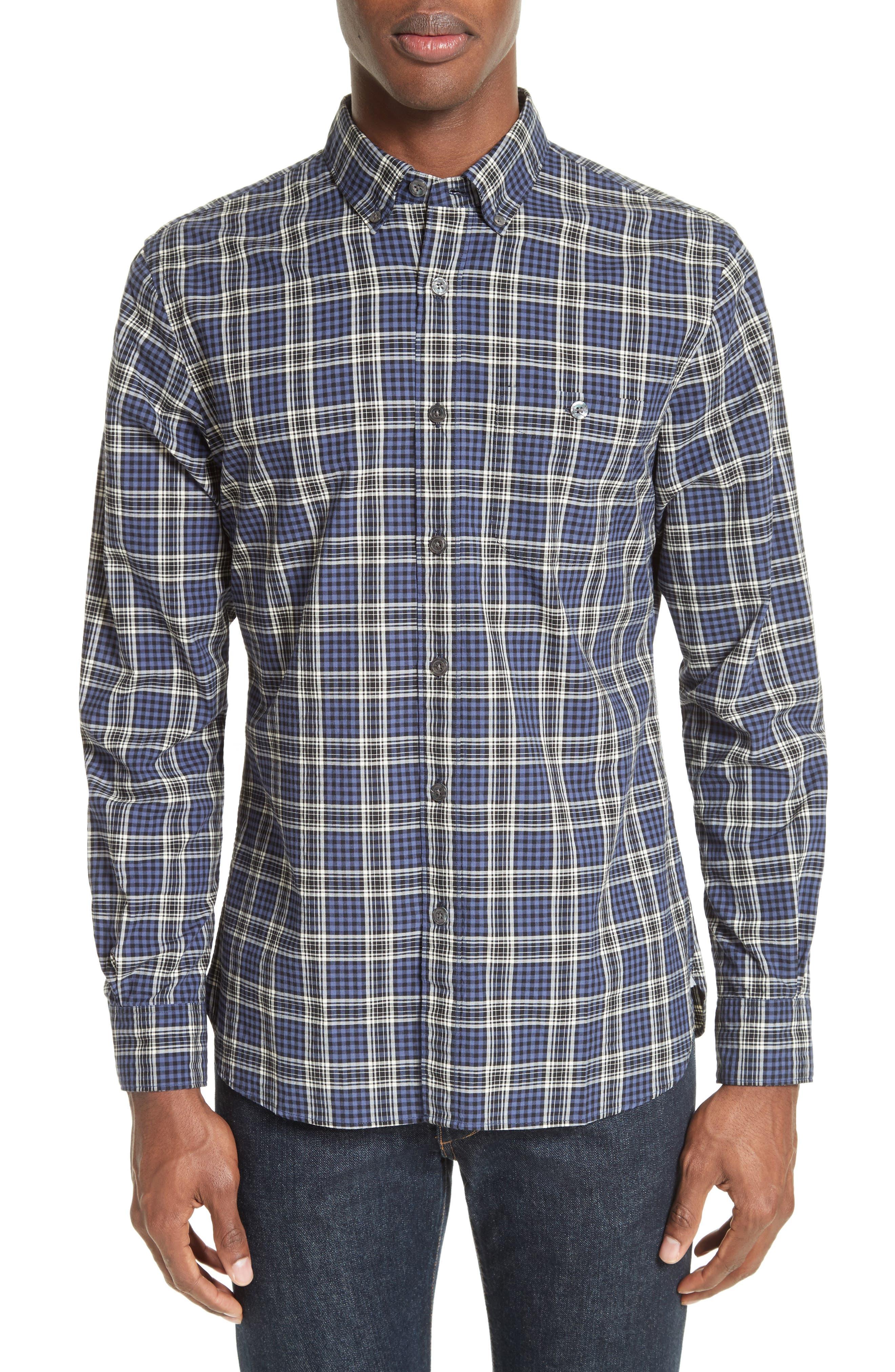 Trim Fit Plaid Sport Shirt,                         Main,                         color, Navy