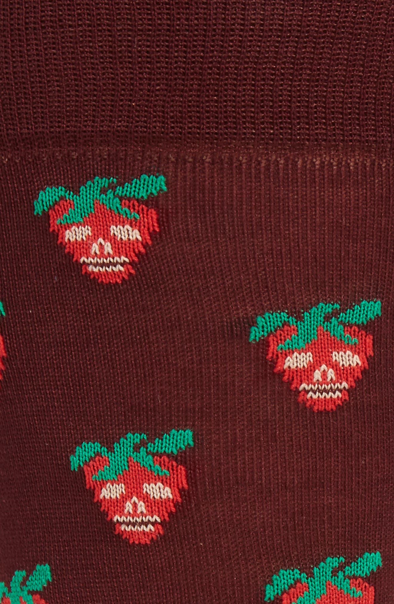 Mini Strawberry Crew Socks,                             Alternate thumbnail 2, color,                             Burgundy
