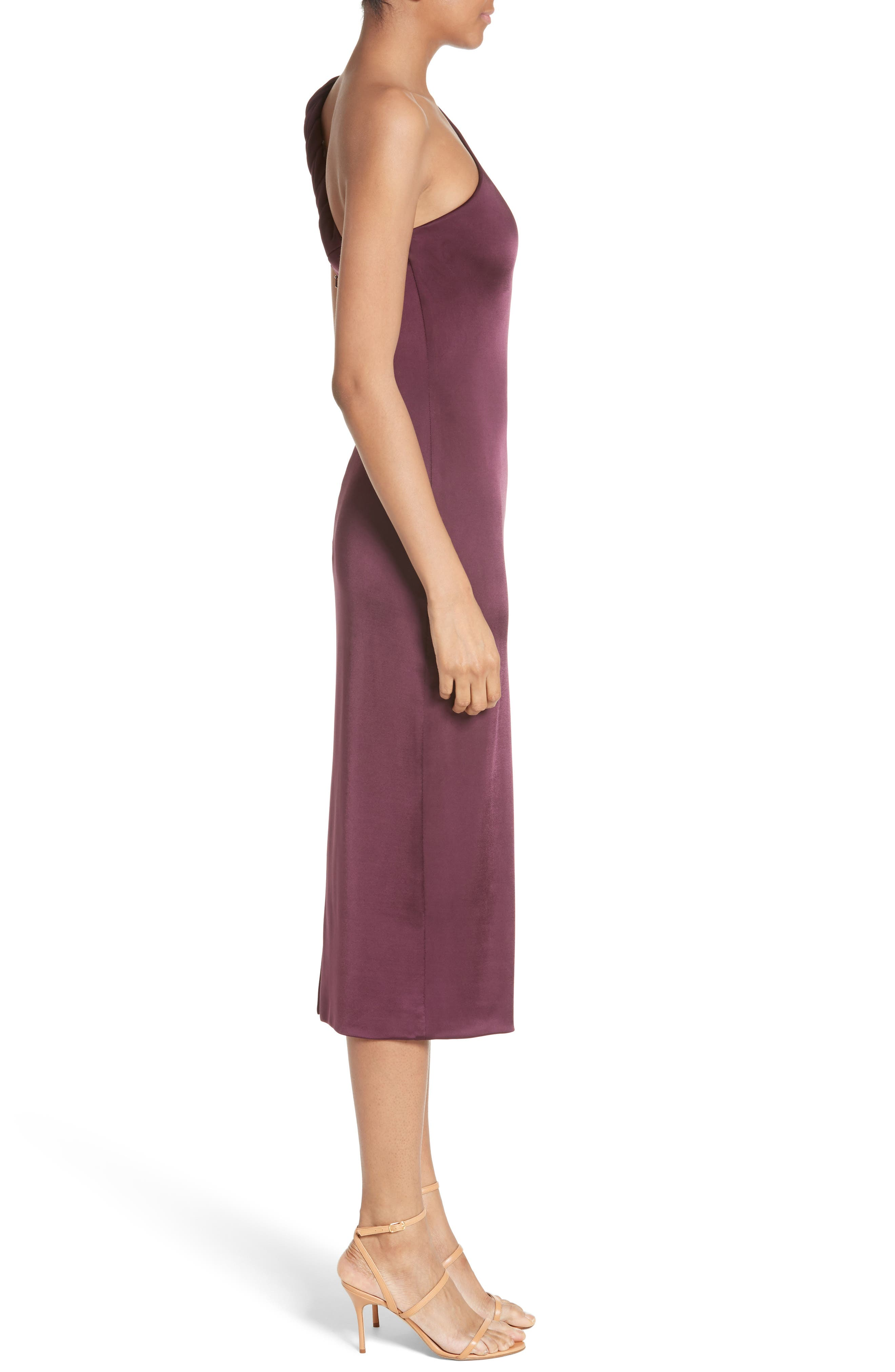 Twisted Jersey One-Shoulder Dress,                             Alternate thumbnail 4, color,                             Currant