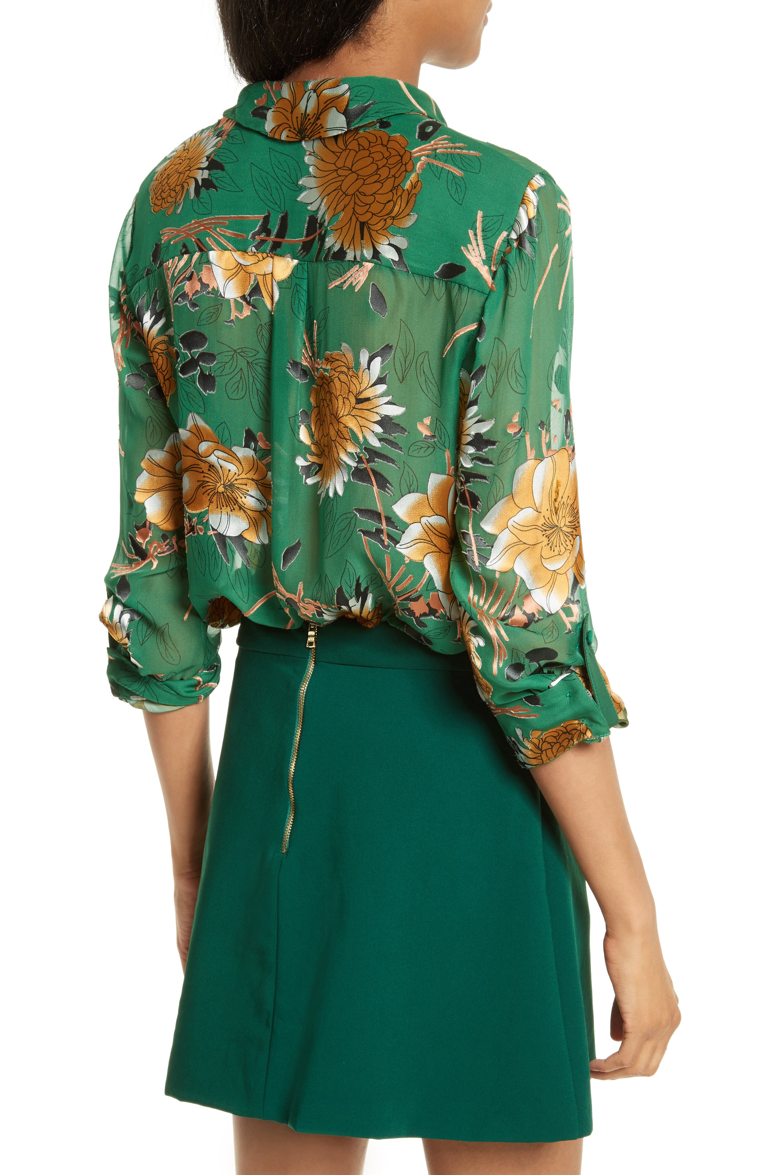 Eloise Roll Sleeve Floral Blouse,                             Alternate thumbnail 2, color,                             Ivy Multi