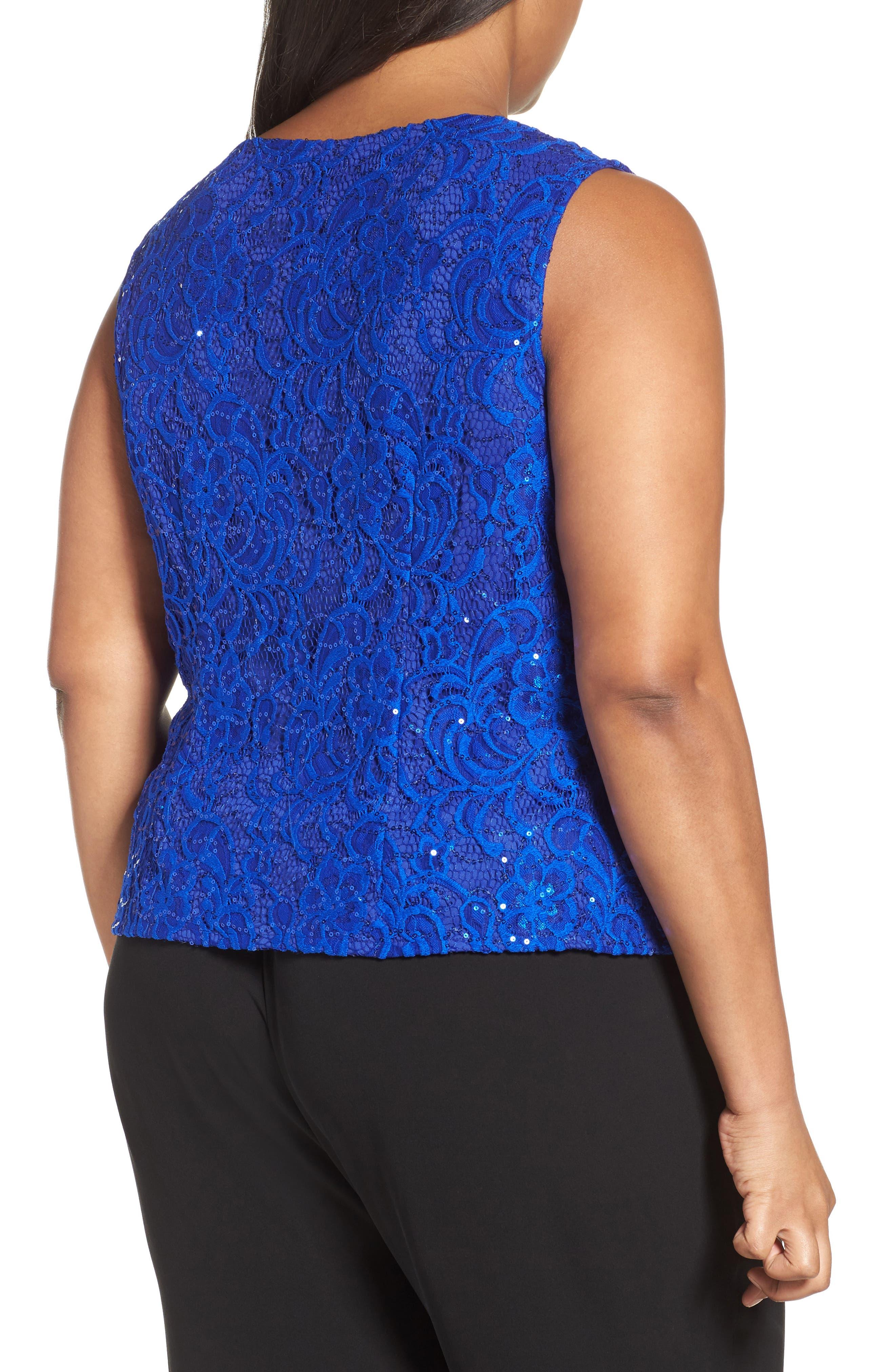 Sequin Lace Twinset,                             Alternate thumbnail 3, color,                             Bright Sapphire
