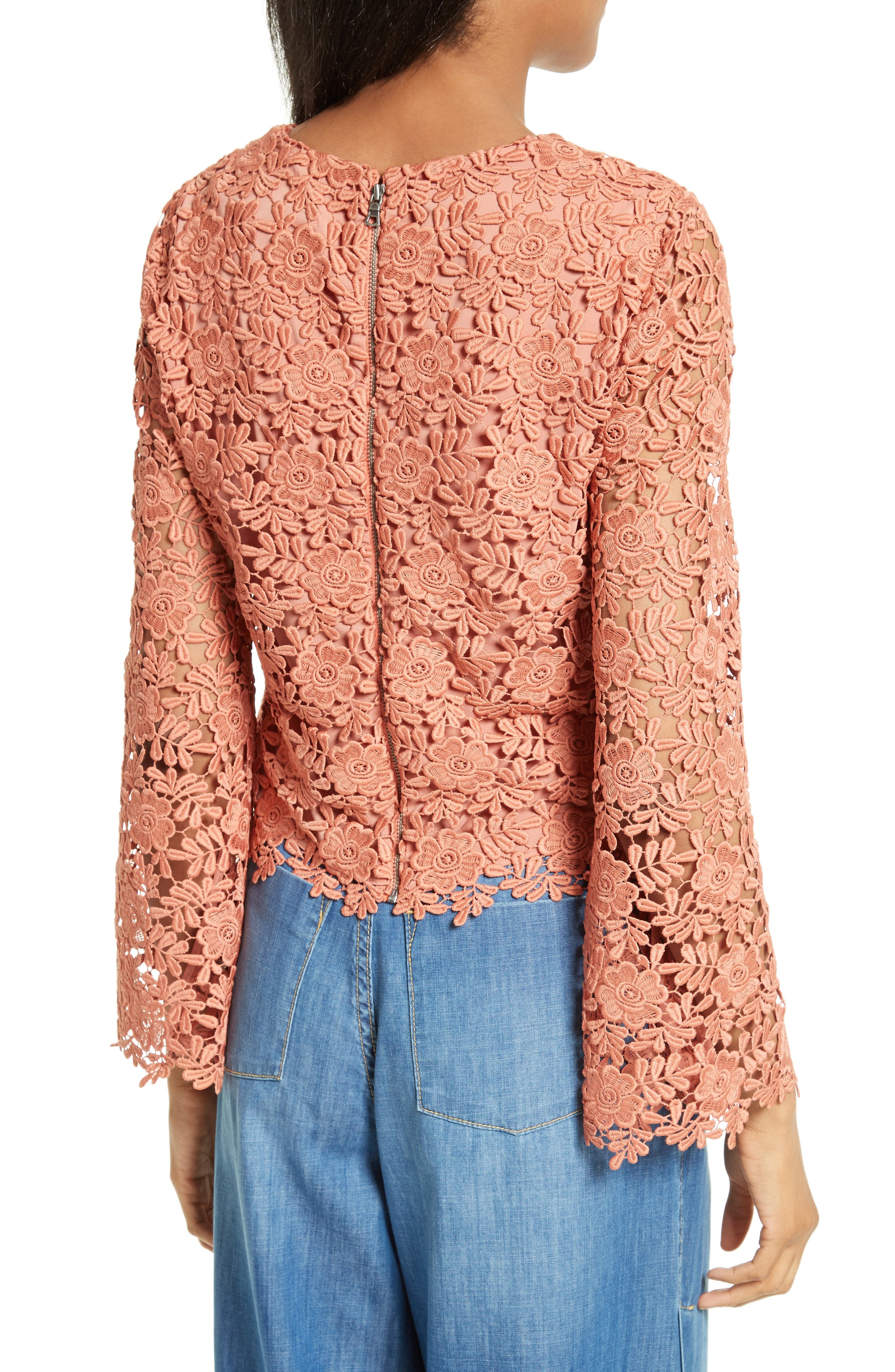 Alternate Image 2  - Alice + Olivia Pasha Bell Sleeve Lace Top