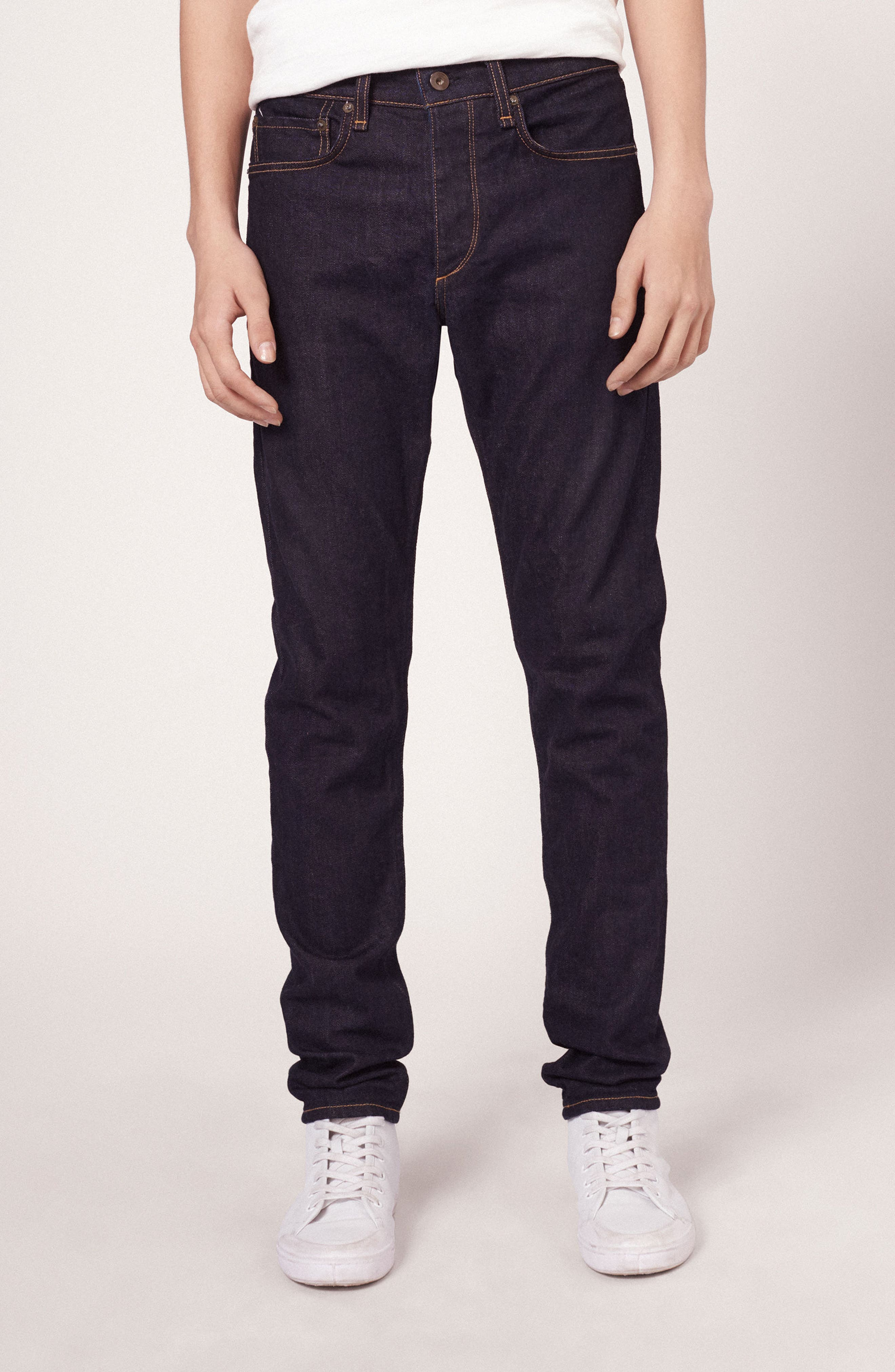 Standard Issue Fit 1 Skinny Fit Jeans,                             Alternate thumbnail 6, color,                             Rinse Selvage
