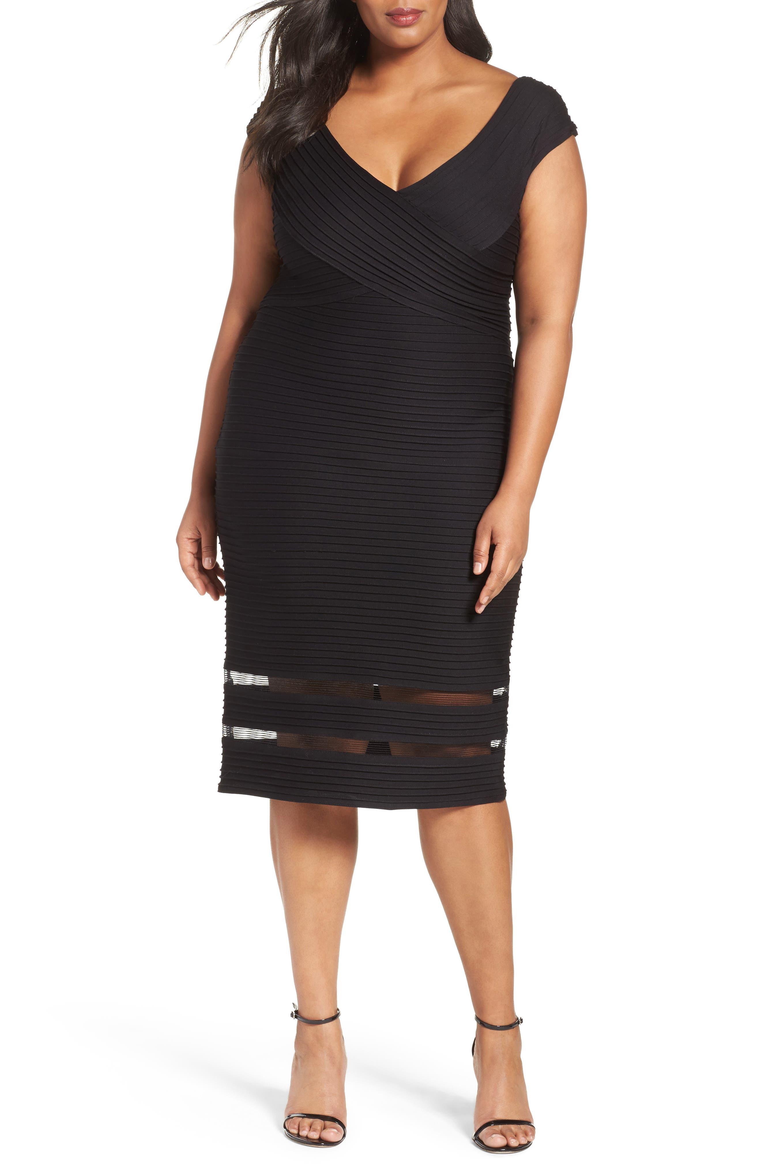 Tadashi Shoji Pintuck Jersey Sheath Dress (Plus Size)