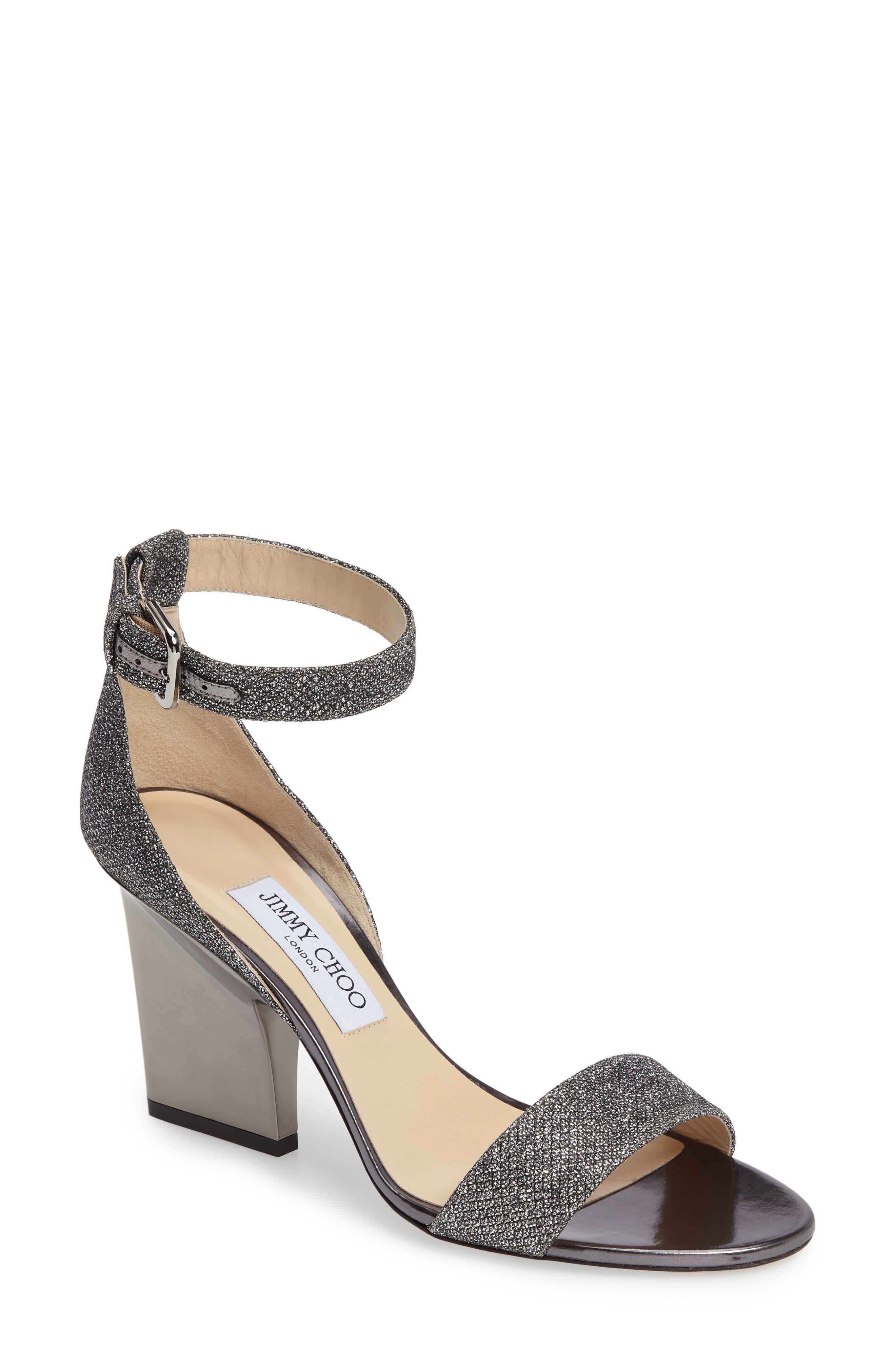 Edina Ankle Strap Sandal,                         Main,                         color, Anthracite
