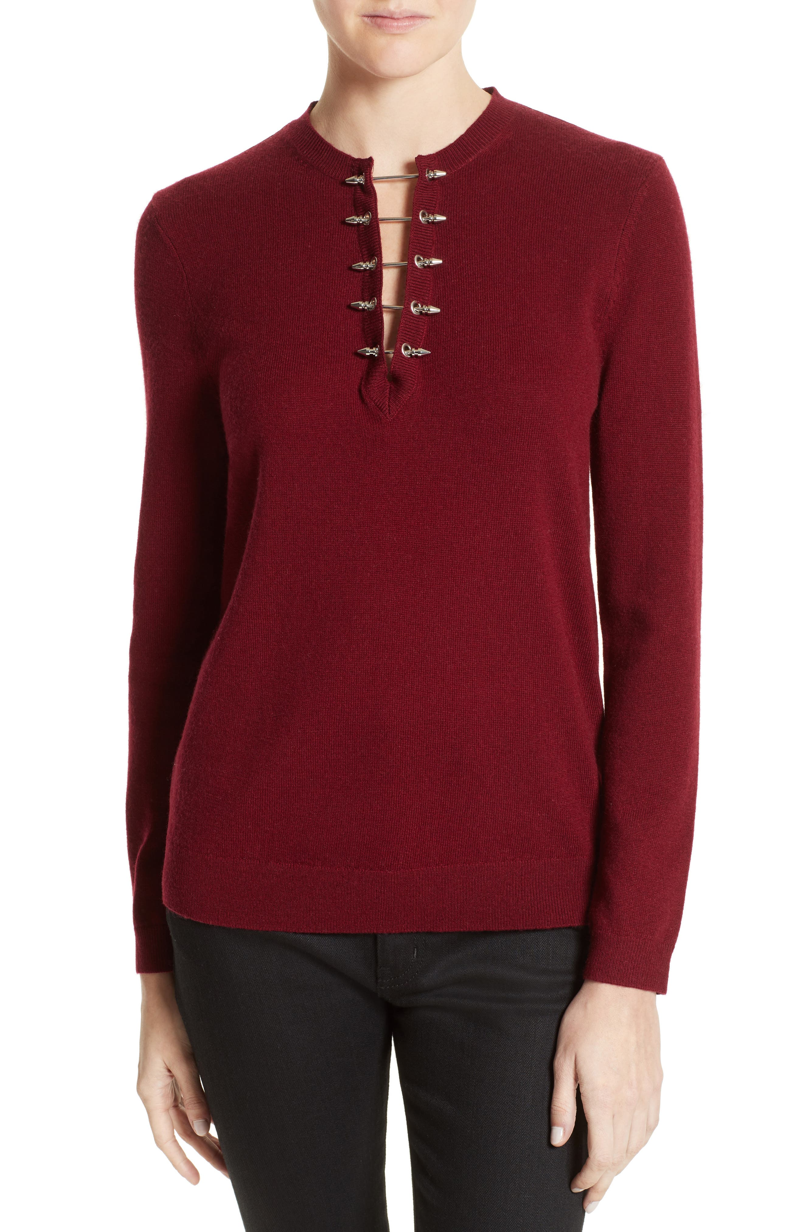Pierced Collar Wool & Cashmere Pullover,                         Main,                         color, Red