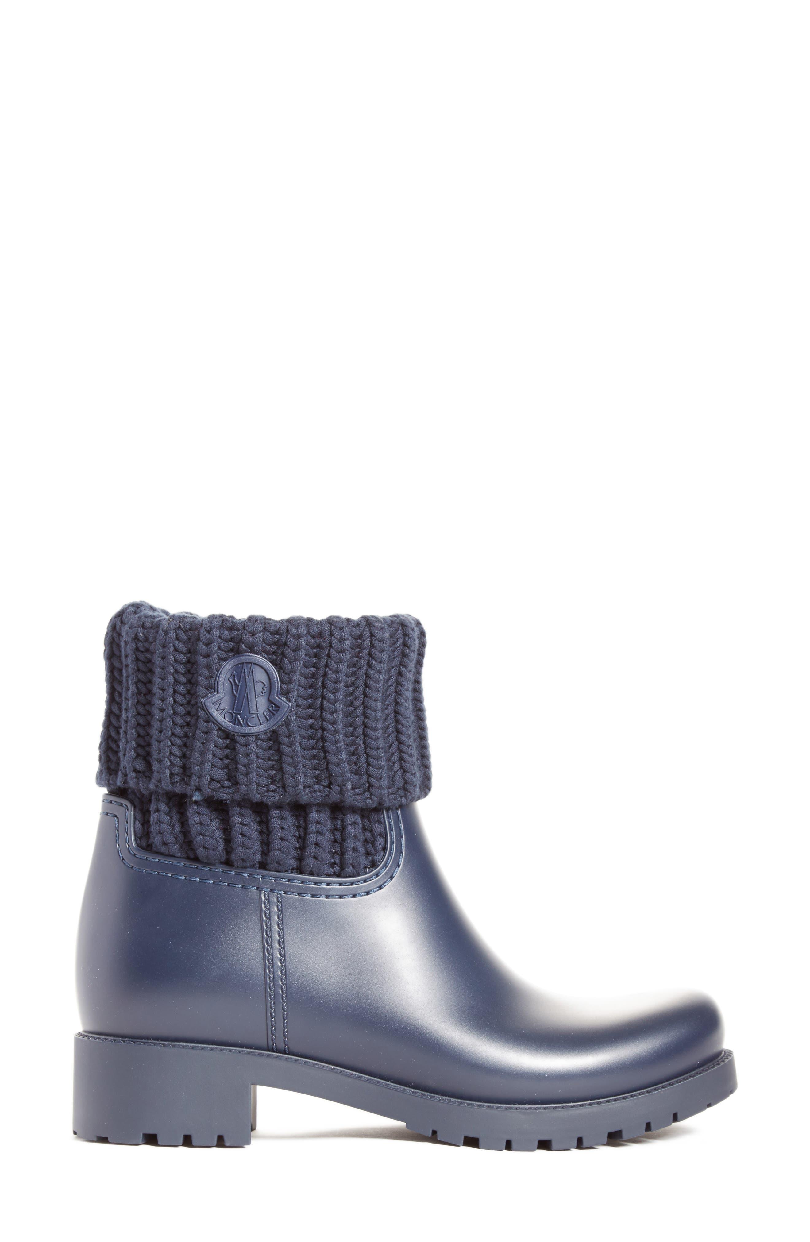 Alternate Image 3  - Moncler 'Ginette' Knit Cuff Leather Rain Boot (Women)