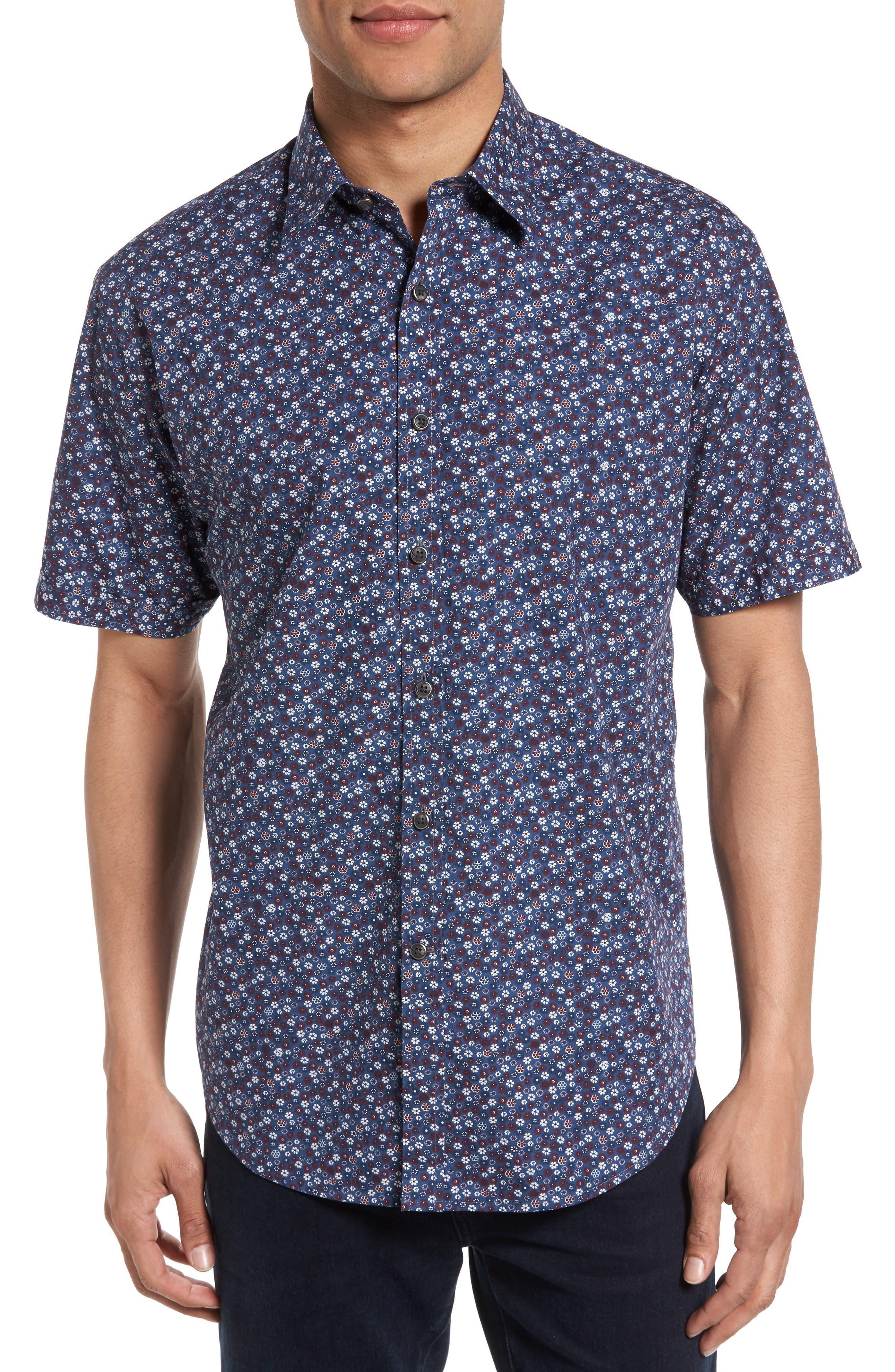 James Campbell Floral Print Short Sleeve Sport Shirt