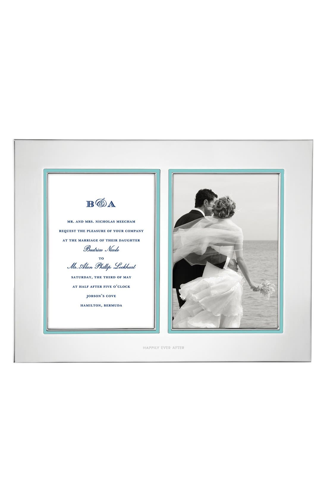 'take the cake' double invitation bridal picture frame,                             Main thumbnail 1, color,                             Silver/ Turquoise
