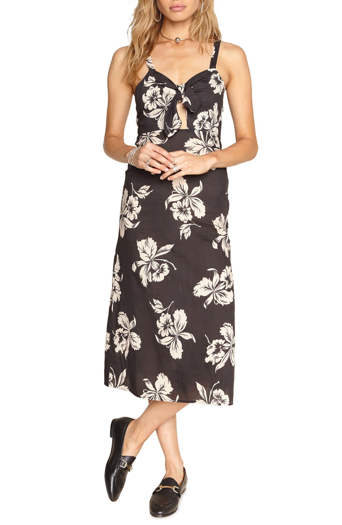 Maude Tie Front Midi Dress,                         Main,                         color, Charcoal