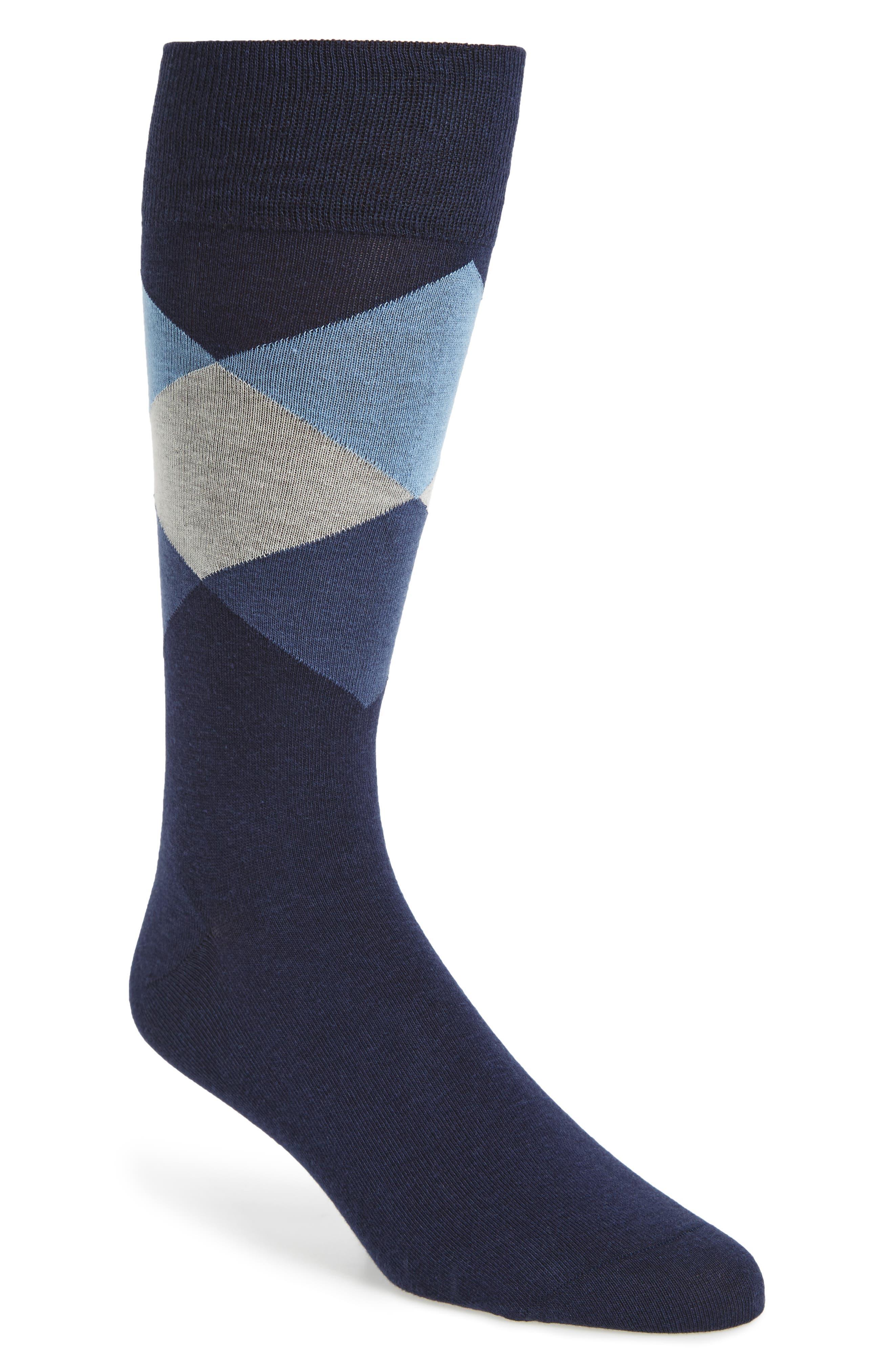 Large Diamond Crew Socks,                         Main,                         color, Marine Blue
