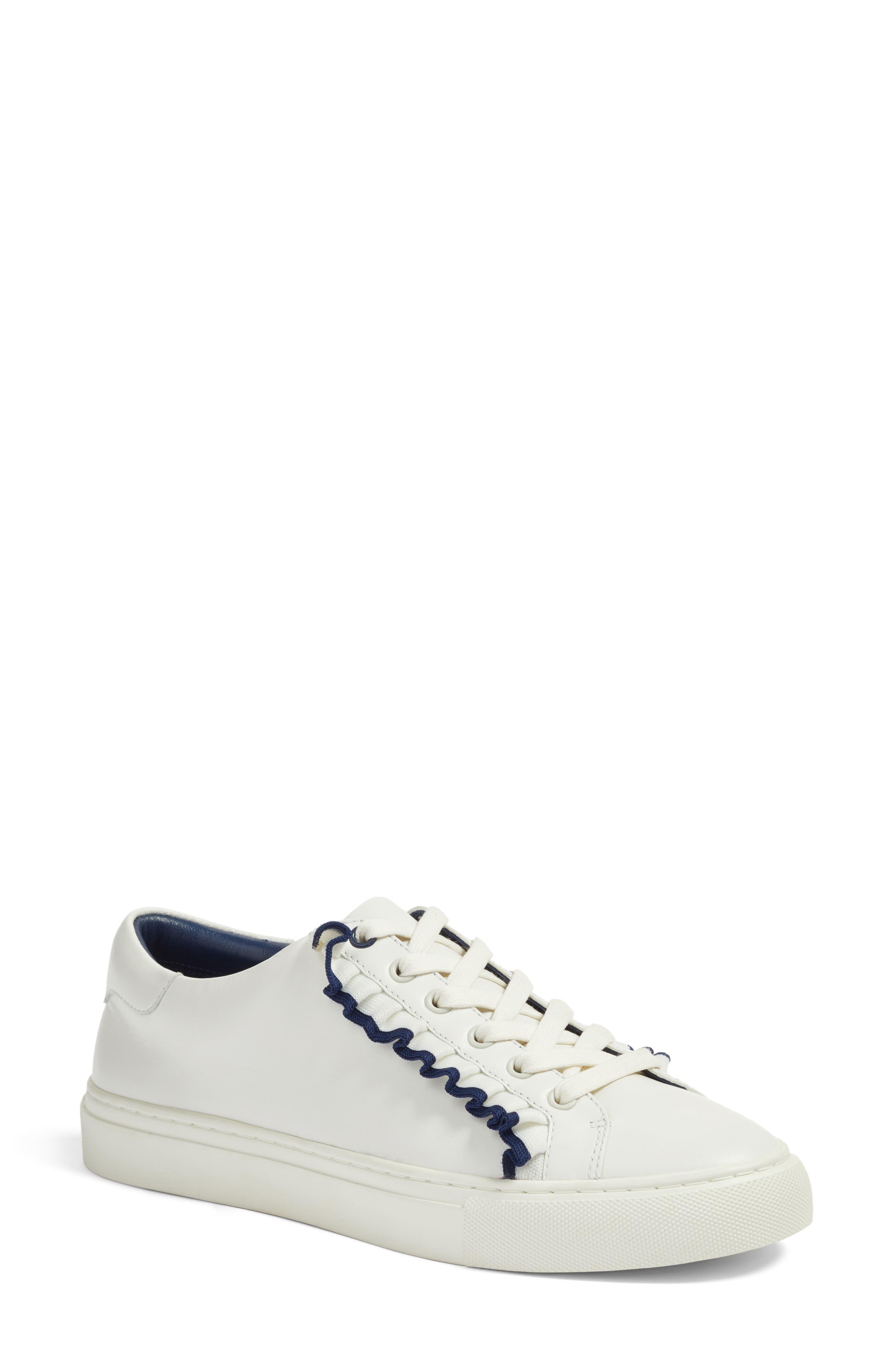 Ruffle Sneaker,                         Main,                         color, Snow White/ Navy Sea