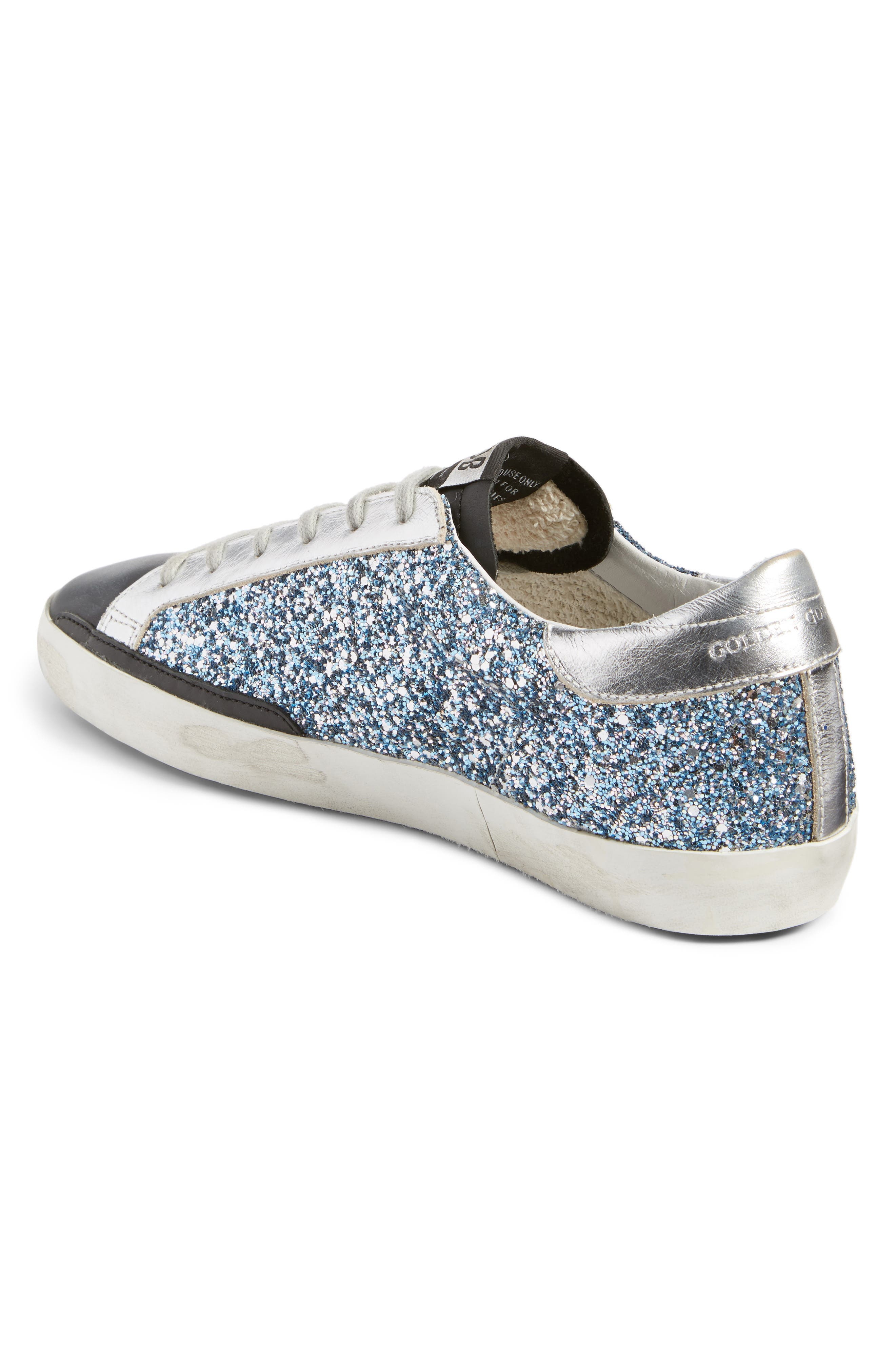 Superstar Glitter Sneaker,                             Alternate thumbnail 2, color,                             Blue Glitter