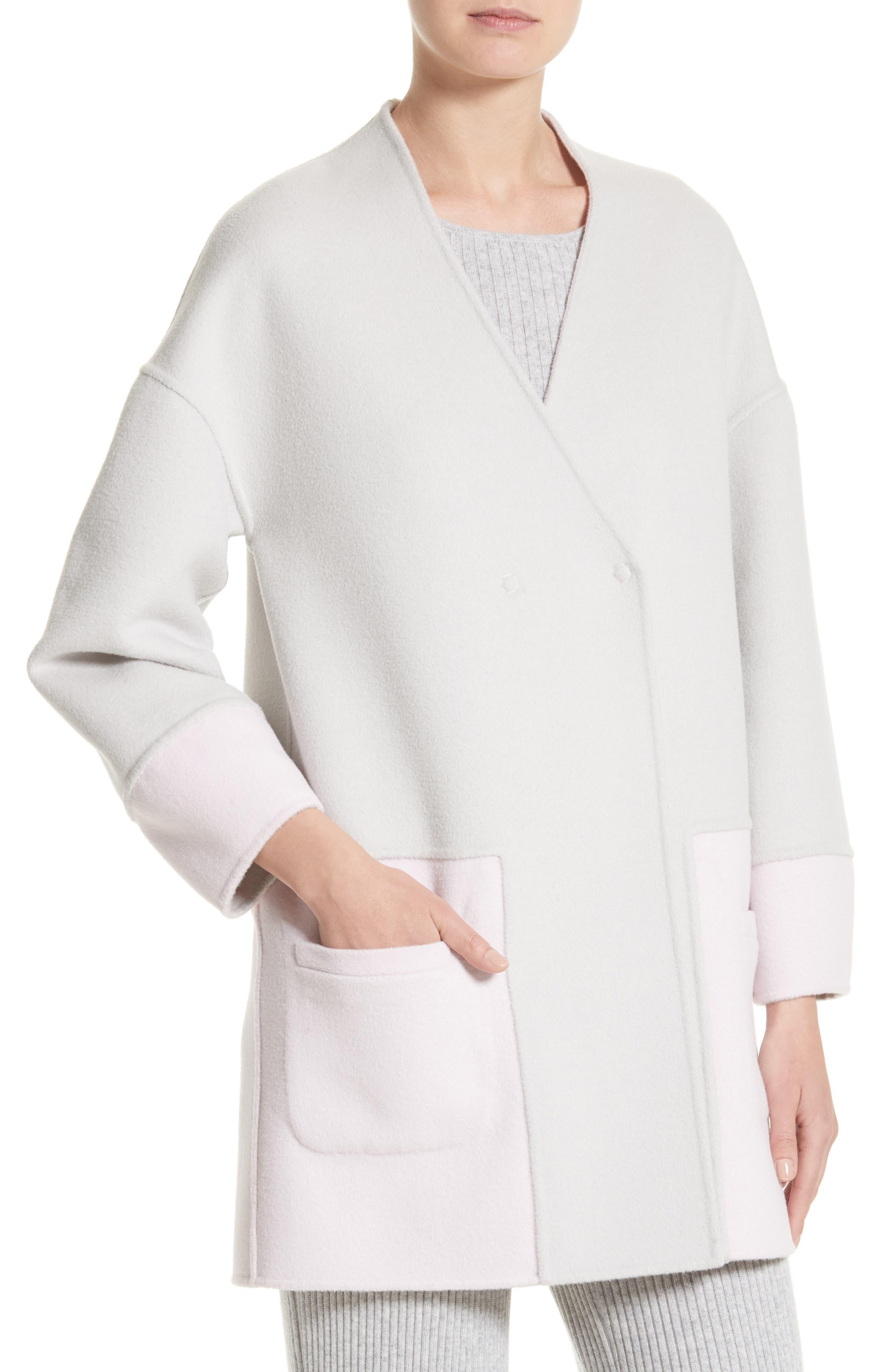 Reversible Wool Blend Cocoon Coat,                             Alternate thumbnail 4, color,                             Petal/ Light Grey Melange