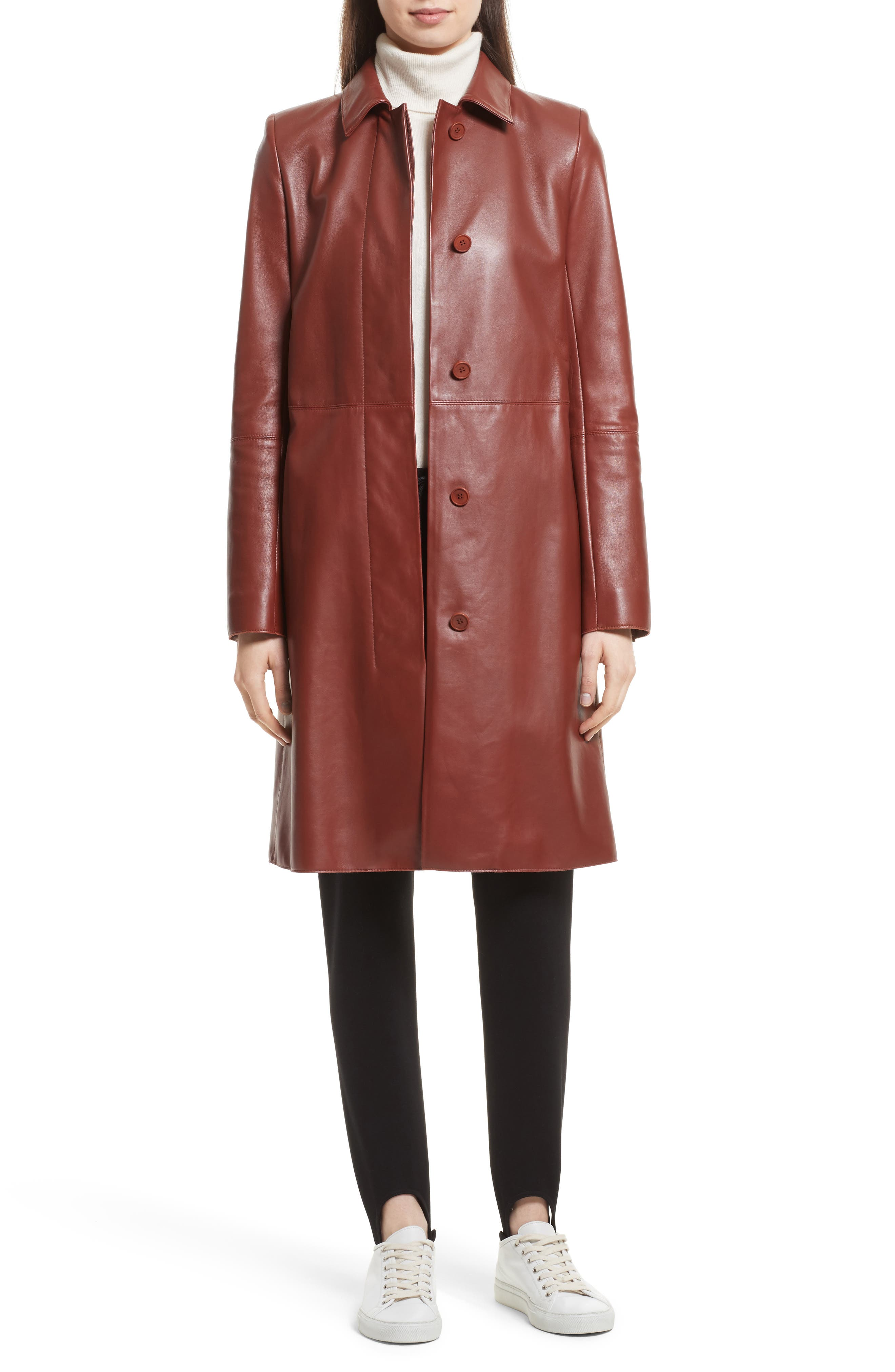 Theory Wilmore Mod Leather Coat