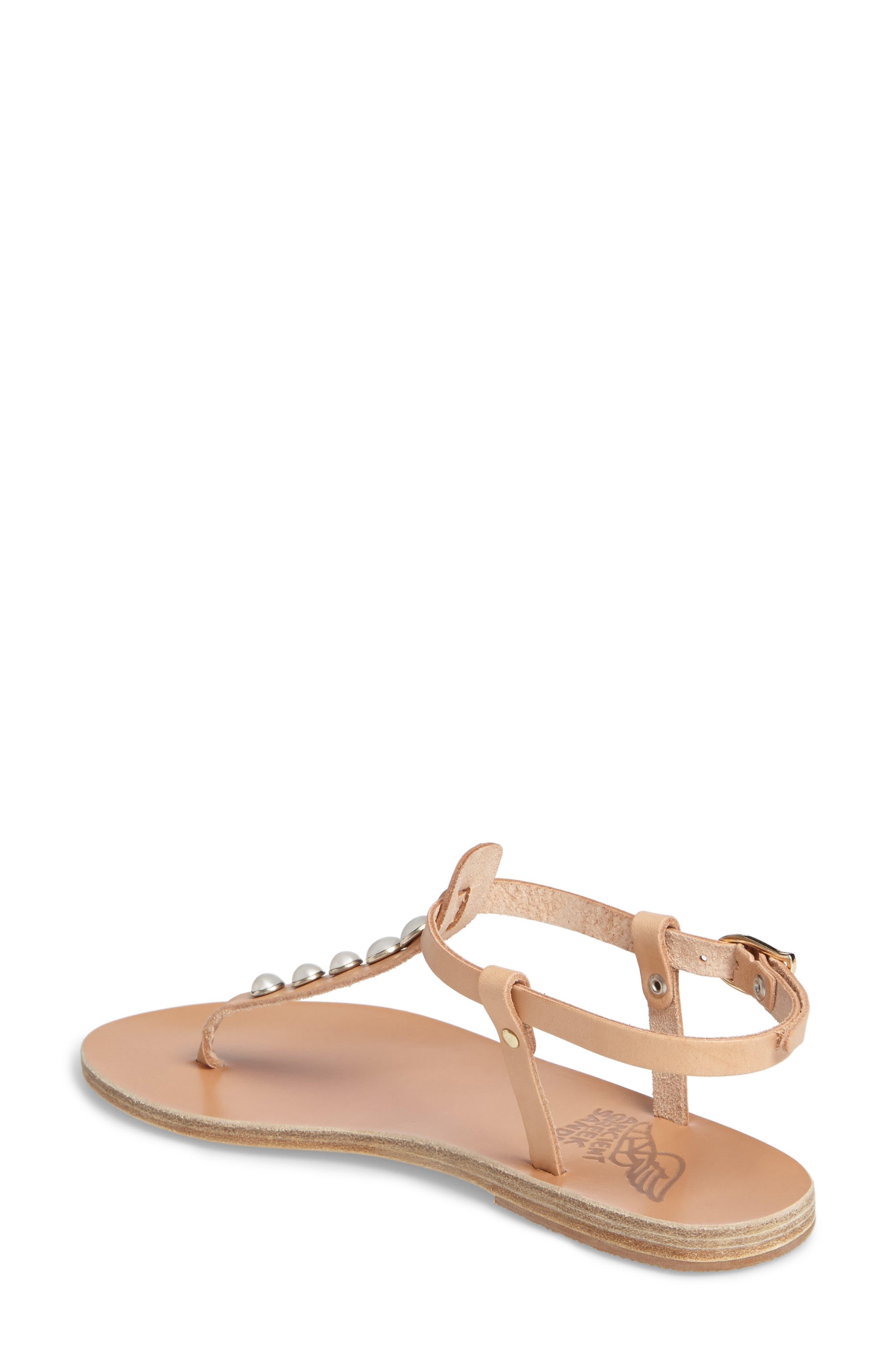 Lito Imitation Pearl Embellished T-Strap Sandal,                             Alternate thumbnail 2, color,                             Natural Vachetta