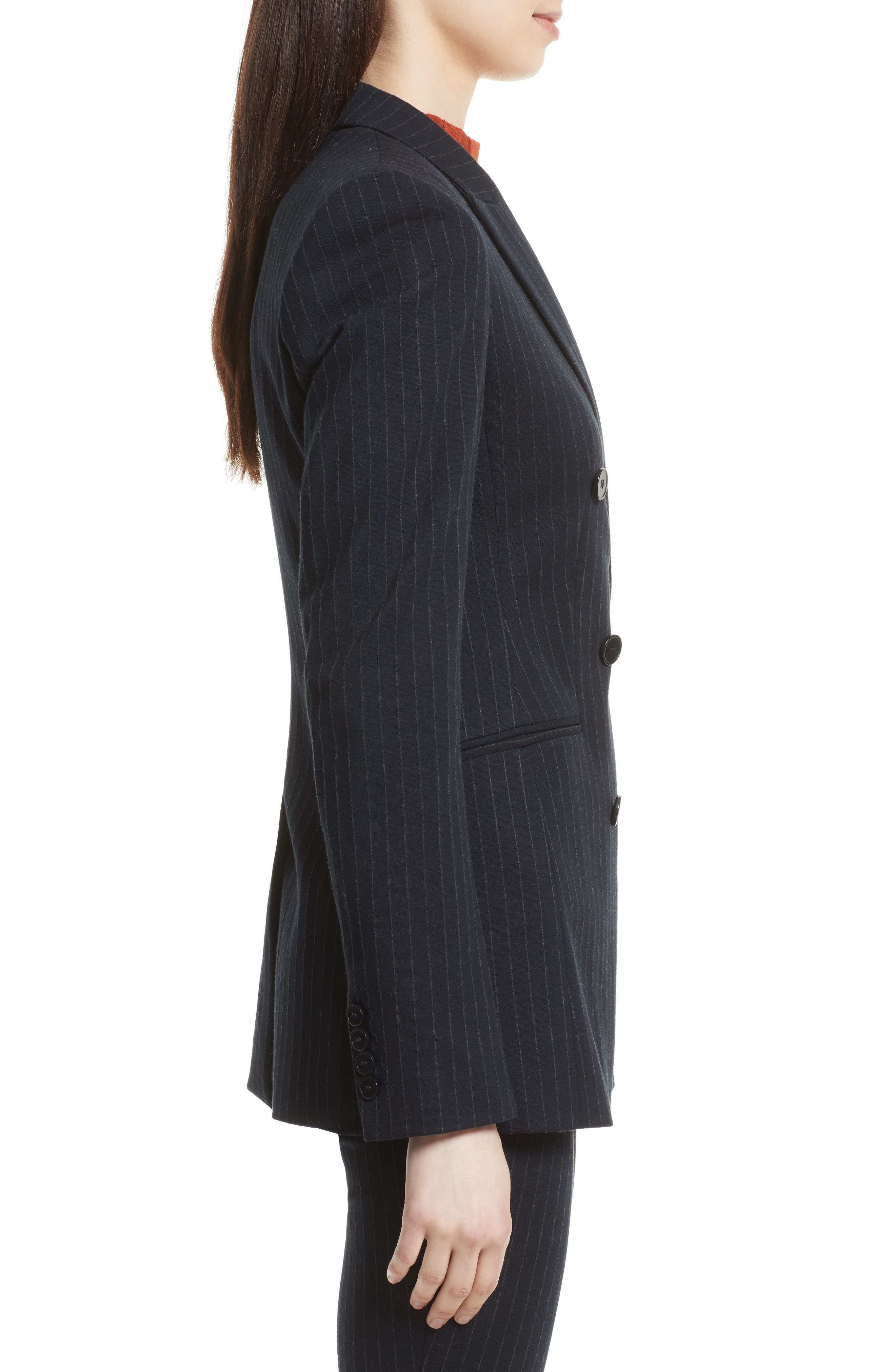 Pinstripe Power Blazer,                             Alternate thumbnail 4, color,                             Deep Navy