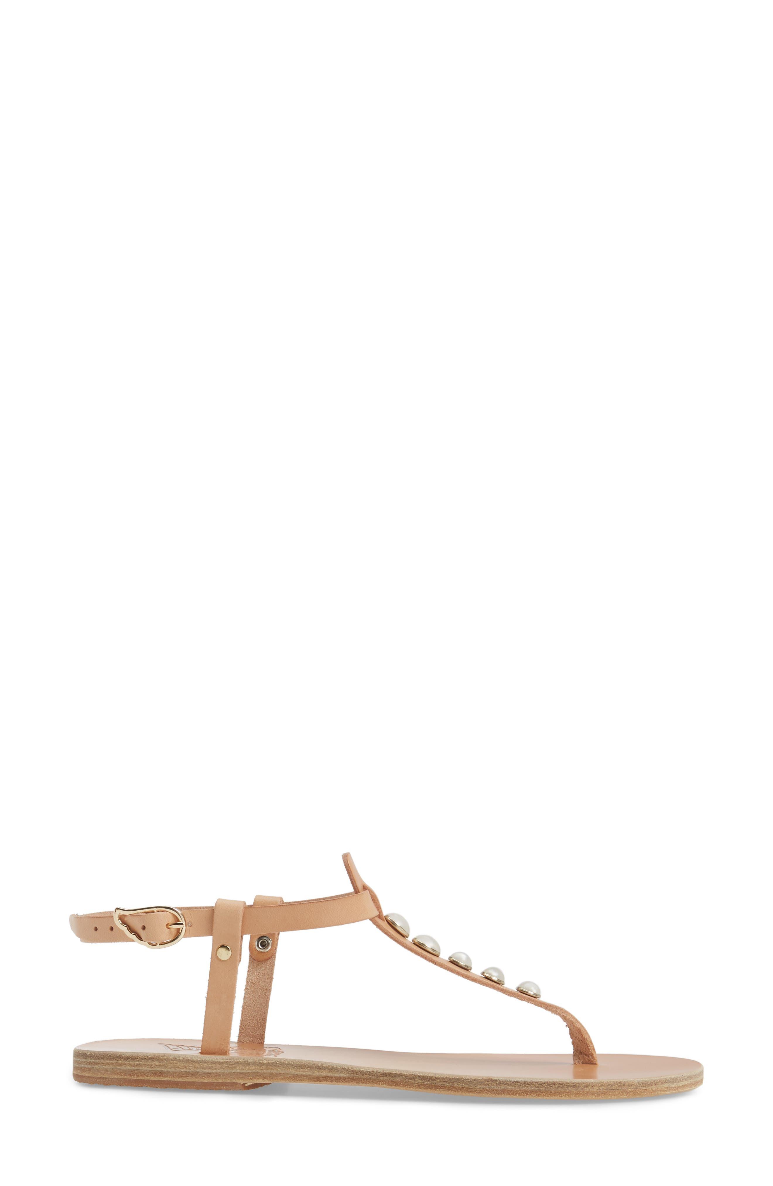 Lito Imitation Pearl Embellished T-Strap Sandal,                             Alternate thumbnail 3, color,                             Natural Vachetta
