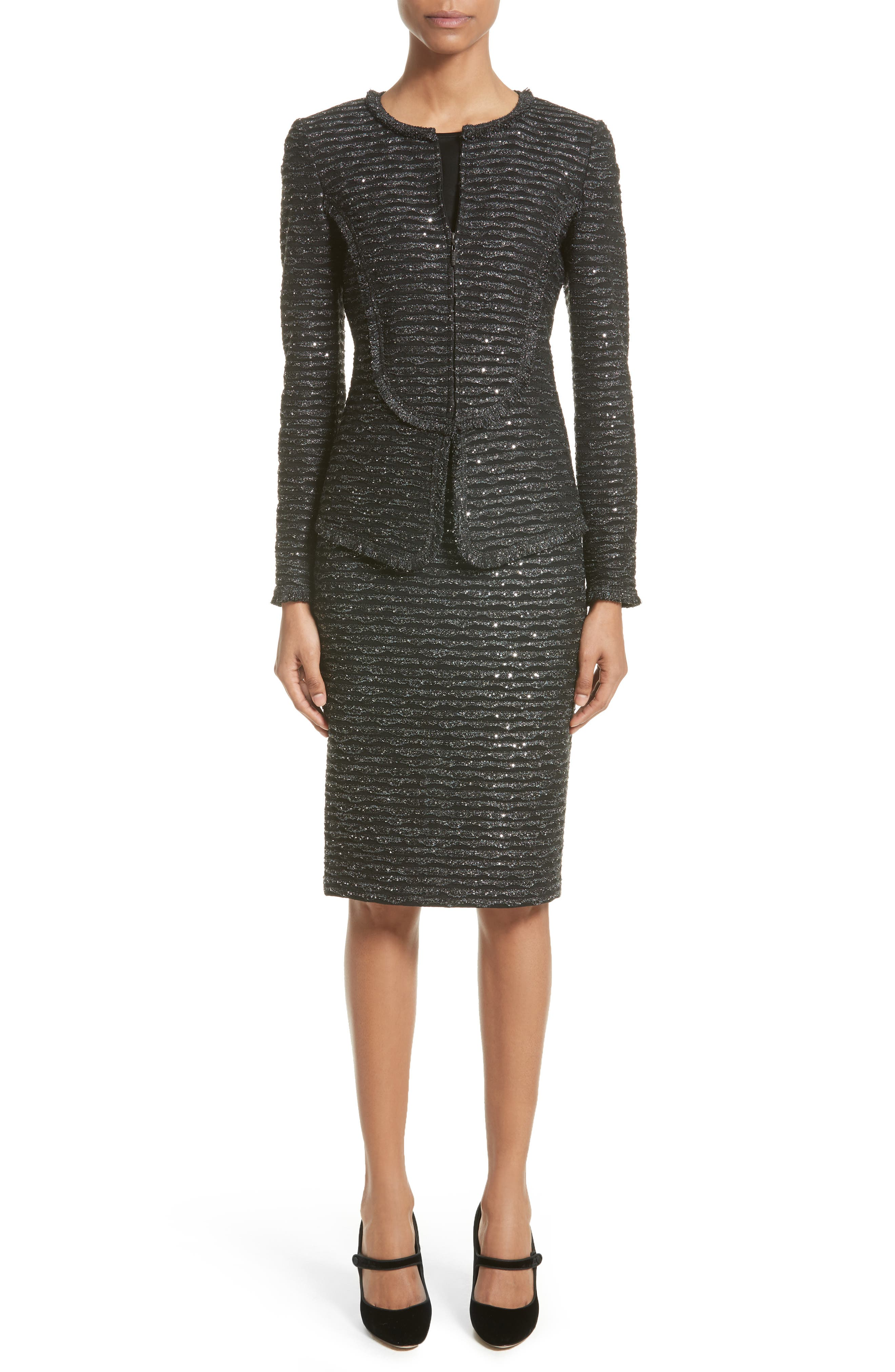 Alternate Image 7  - St. John Collection Sparkle Wave Tweed Knit Skirt