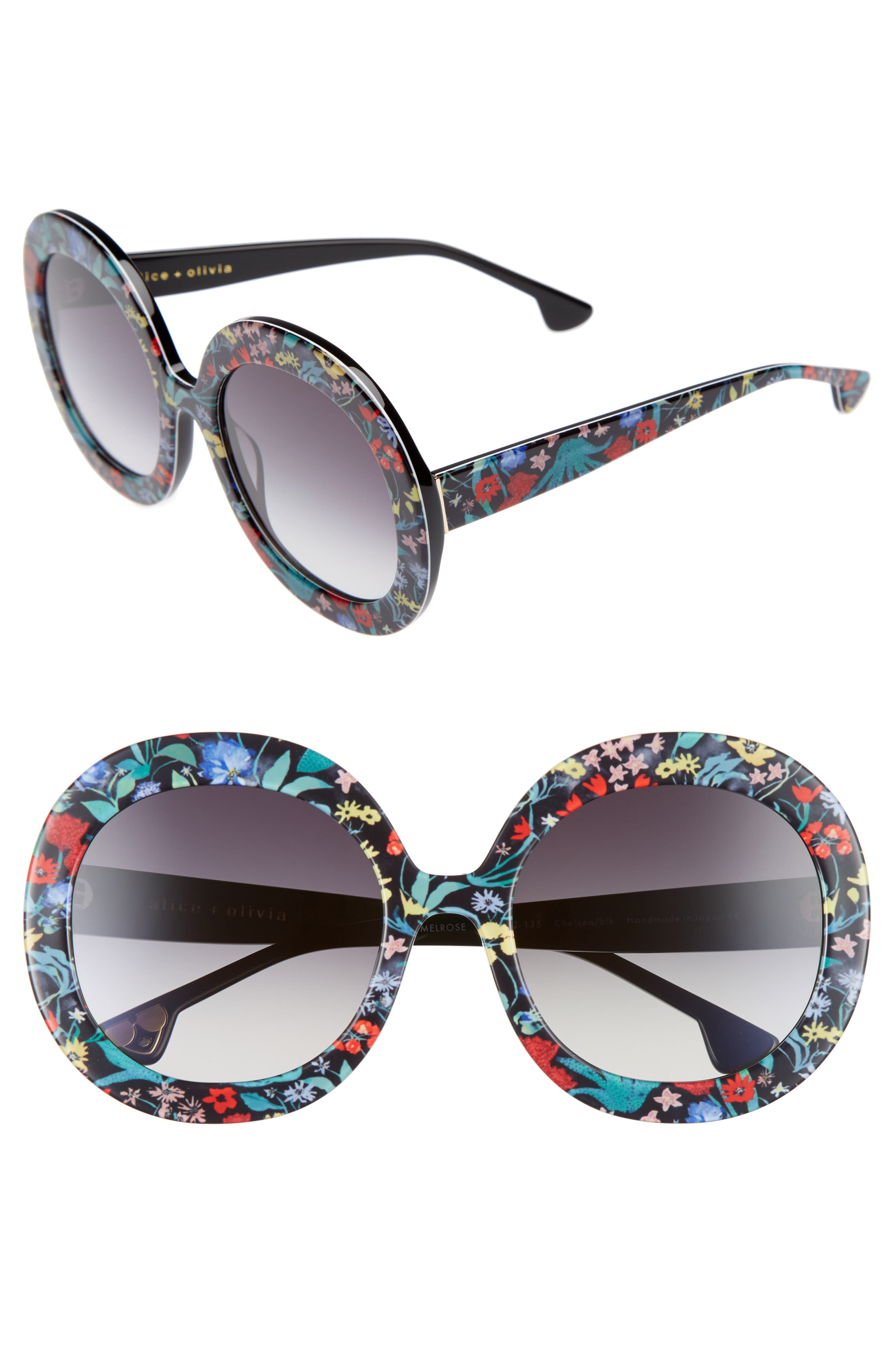 Melrose 56mm Round Sunglasses,                         Main,                         color, Chelsea Print/ Black