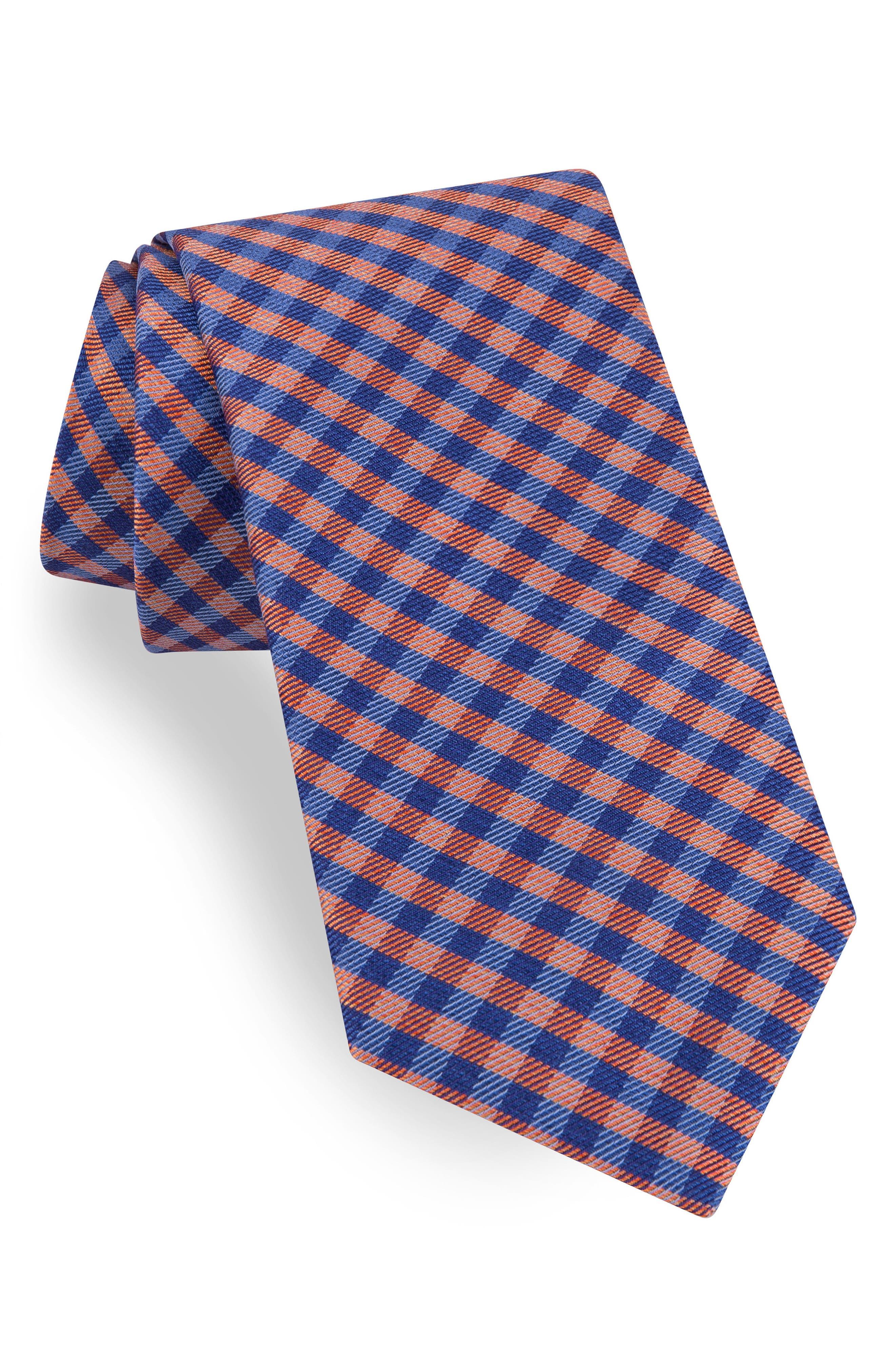 Grid Silk Tie,                         Main,                         color, Orange