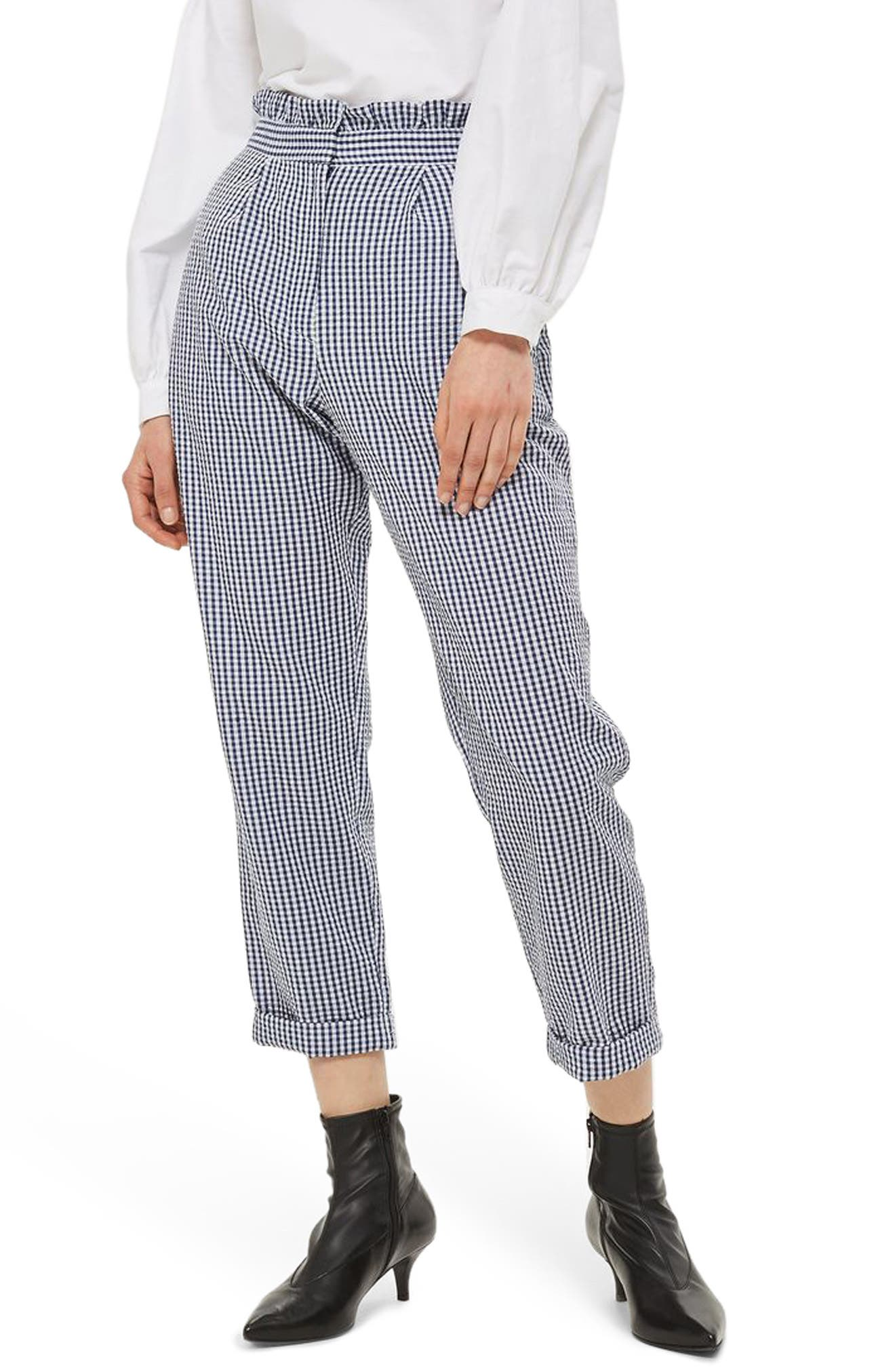 Alternate Image 1 Selected - Topshop Ruffle Waist Gingham Trousers