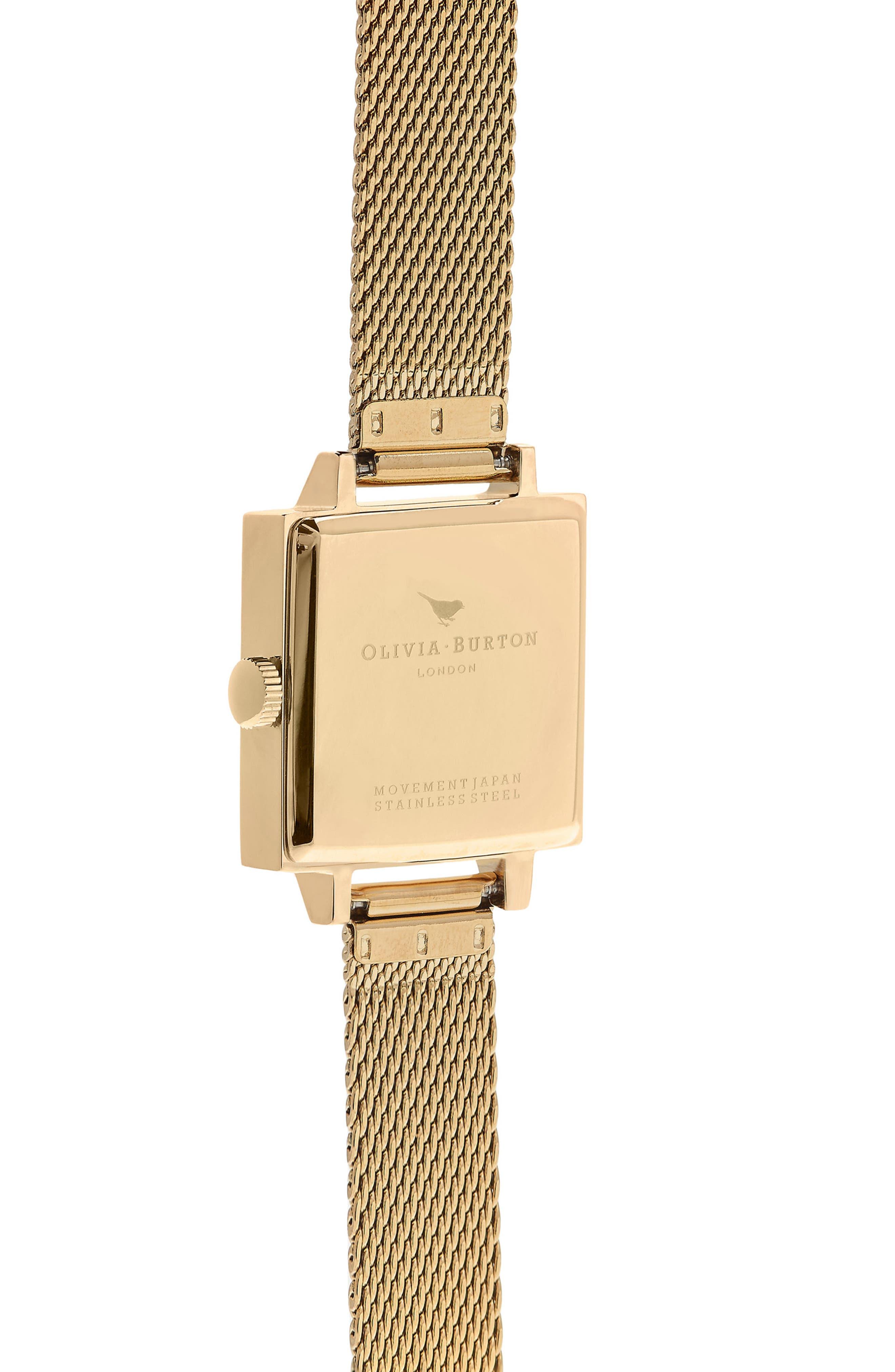 Midi Square Mesh Strap Watch, 22.5mm,                             Alternate thumbnail 2, color,                             Gold/ White/ Gold