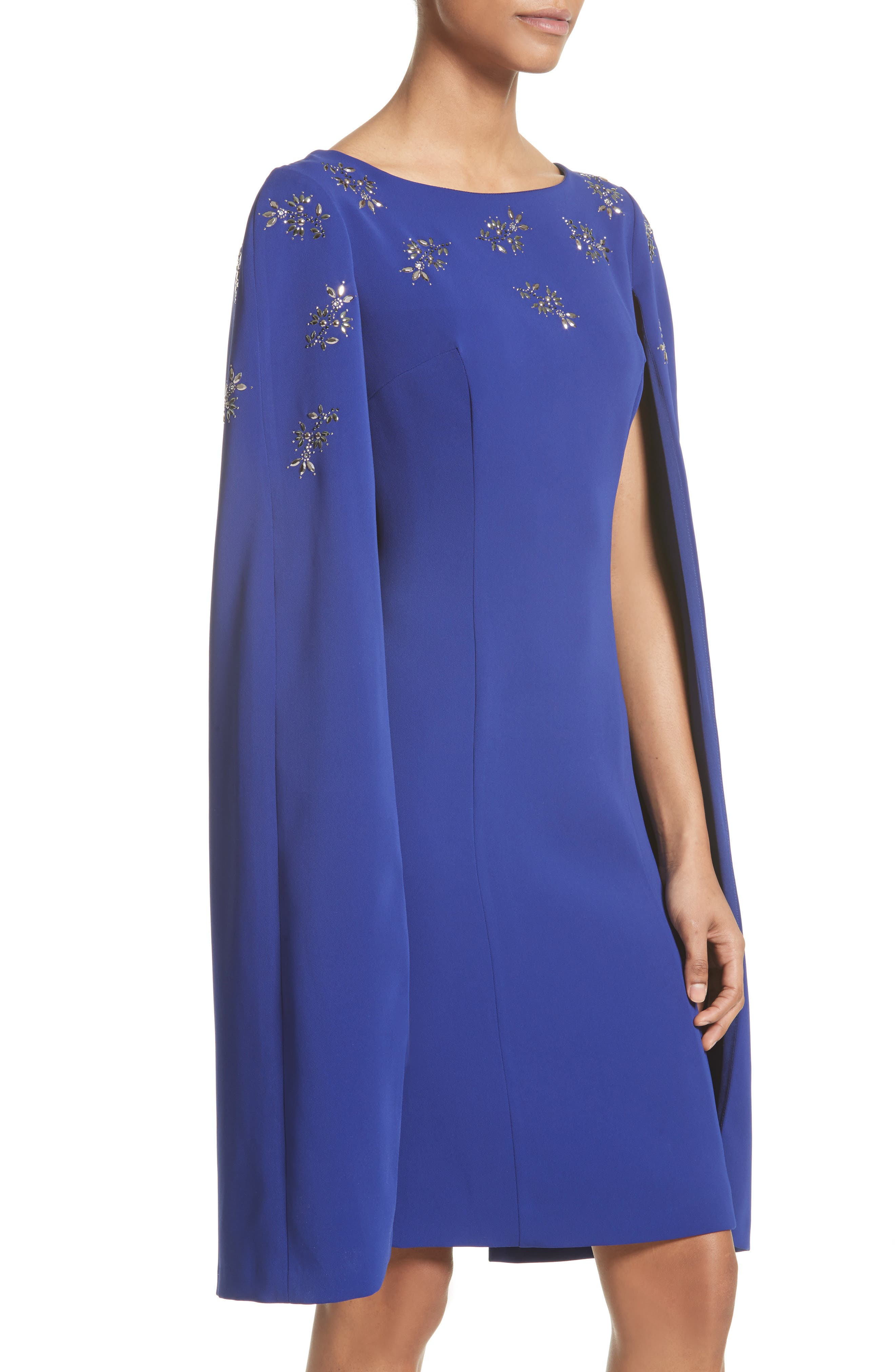 Alternate Image 4  - St. John Collection Embellished Classic Stretch Cady Cape Dress