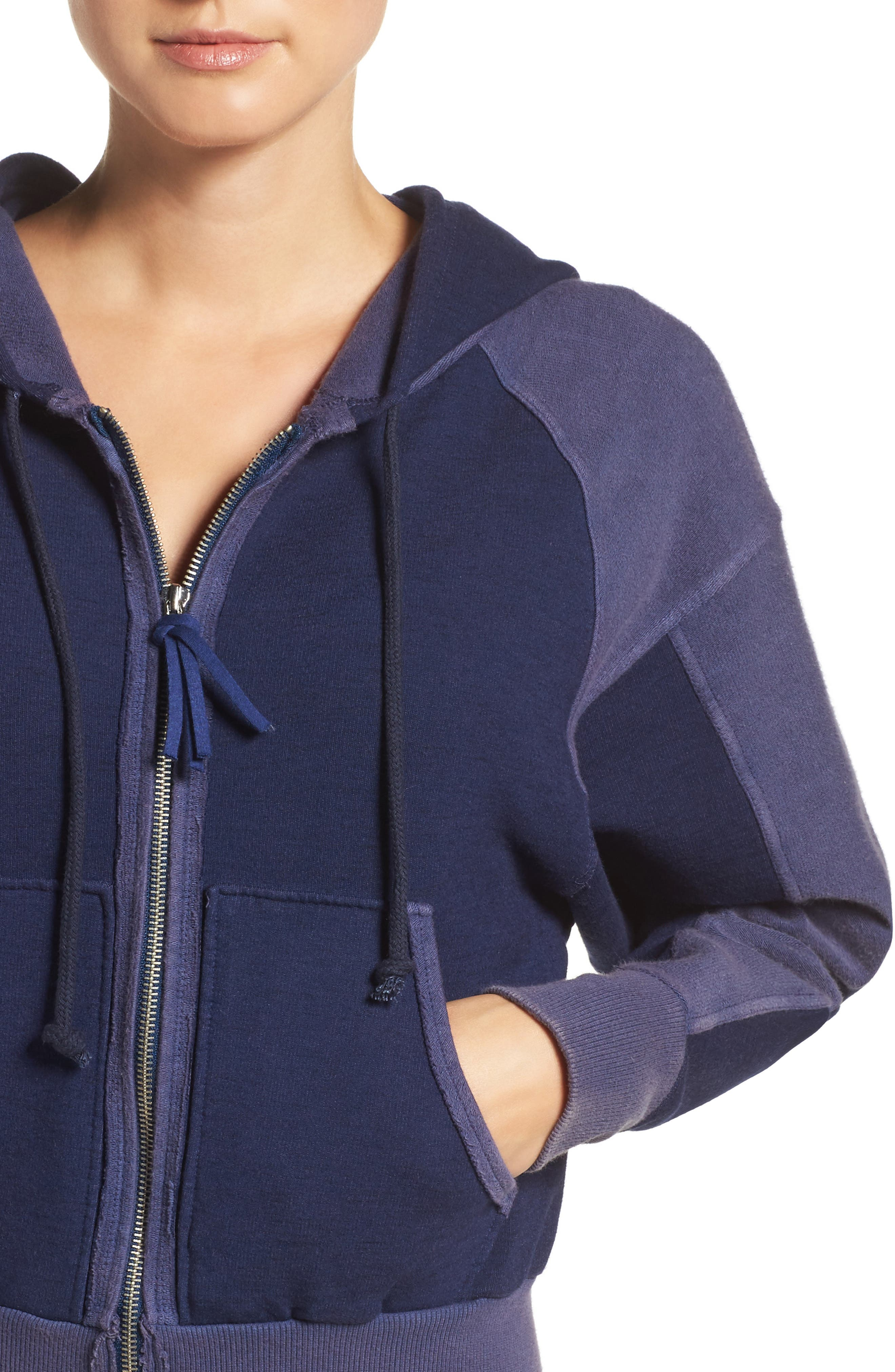 Free People Shadowboxer Hoodie,                             Alternate thumbnail 5, color,                             Blue