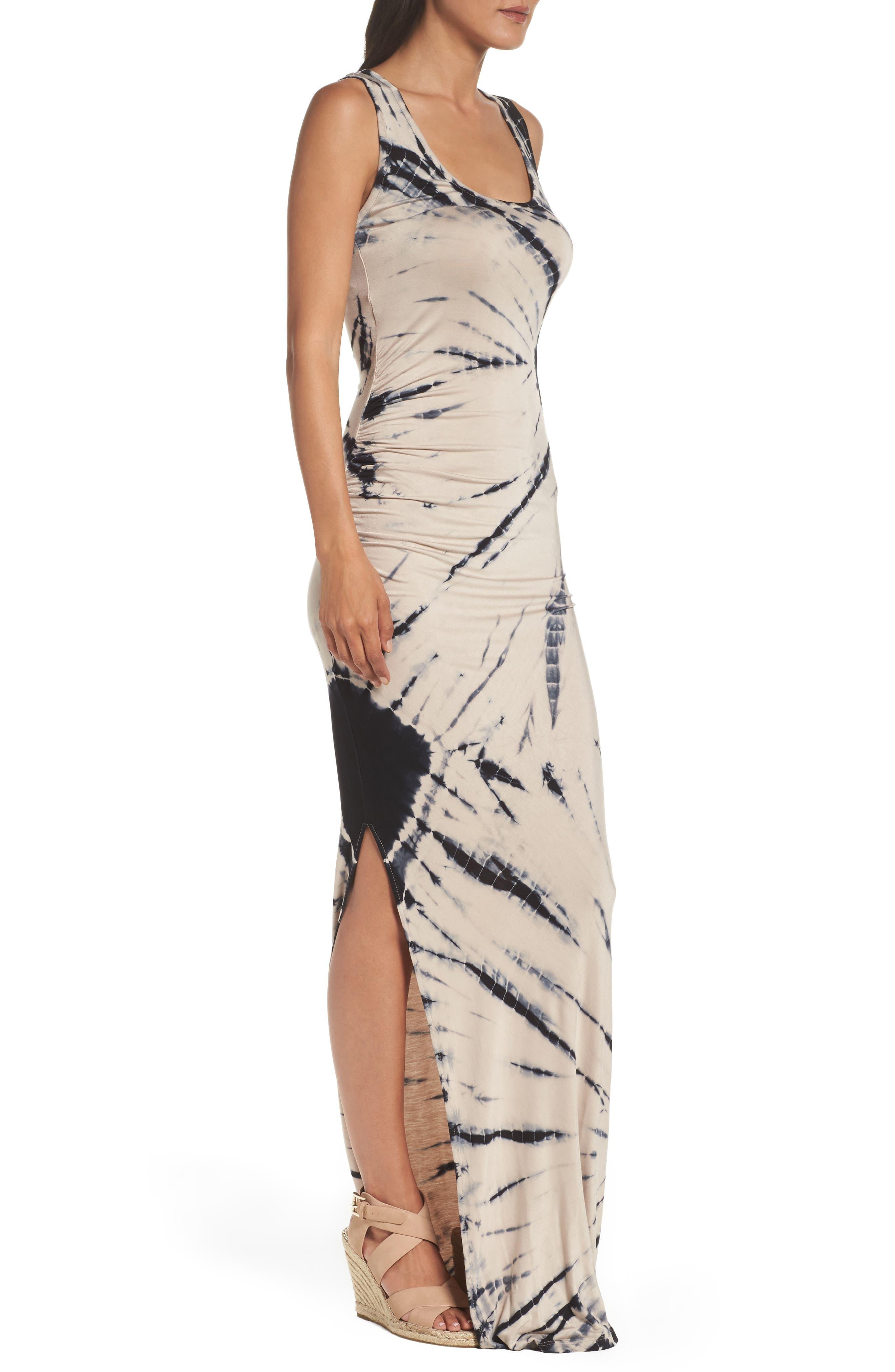 Tie Dye Tank Maxi Dress,                             Alternate thumbnail 3, color,                             Black