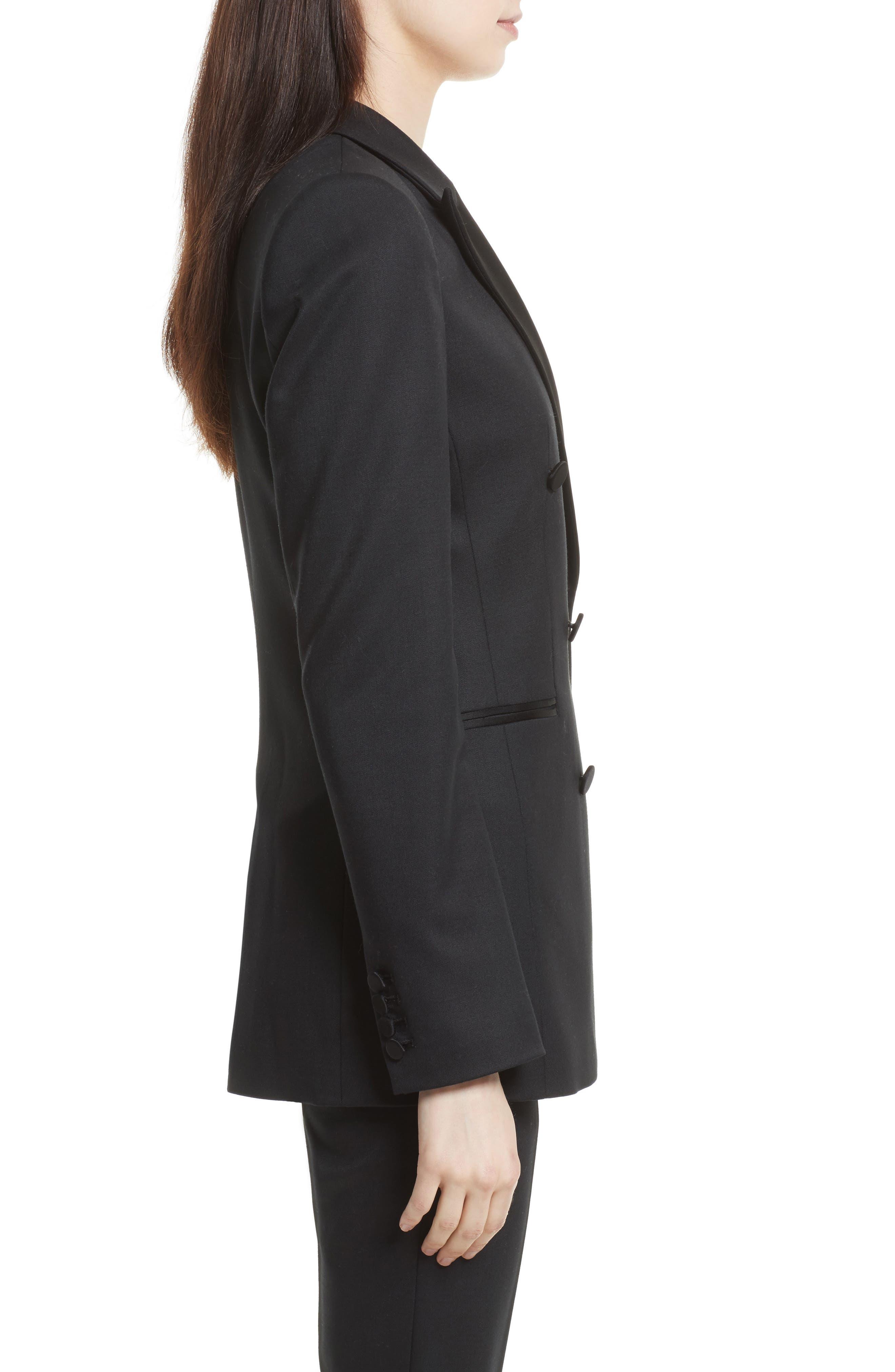 Wool Blend Tuxedo Jacket,                             Alternate thumbnail 3, color,                             Black
