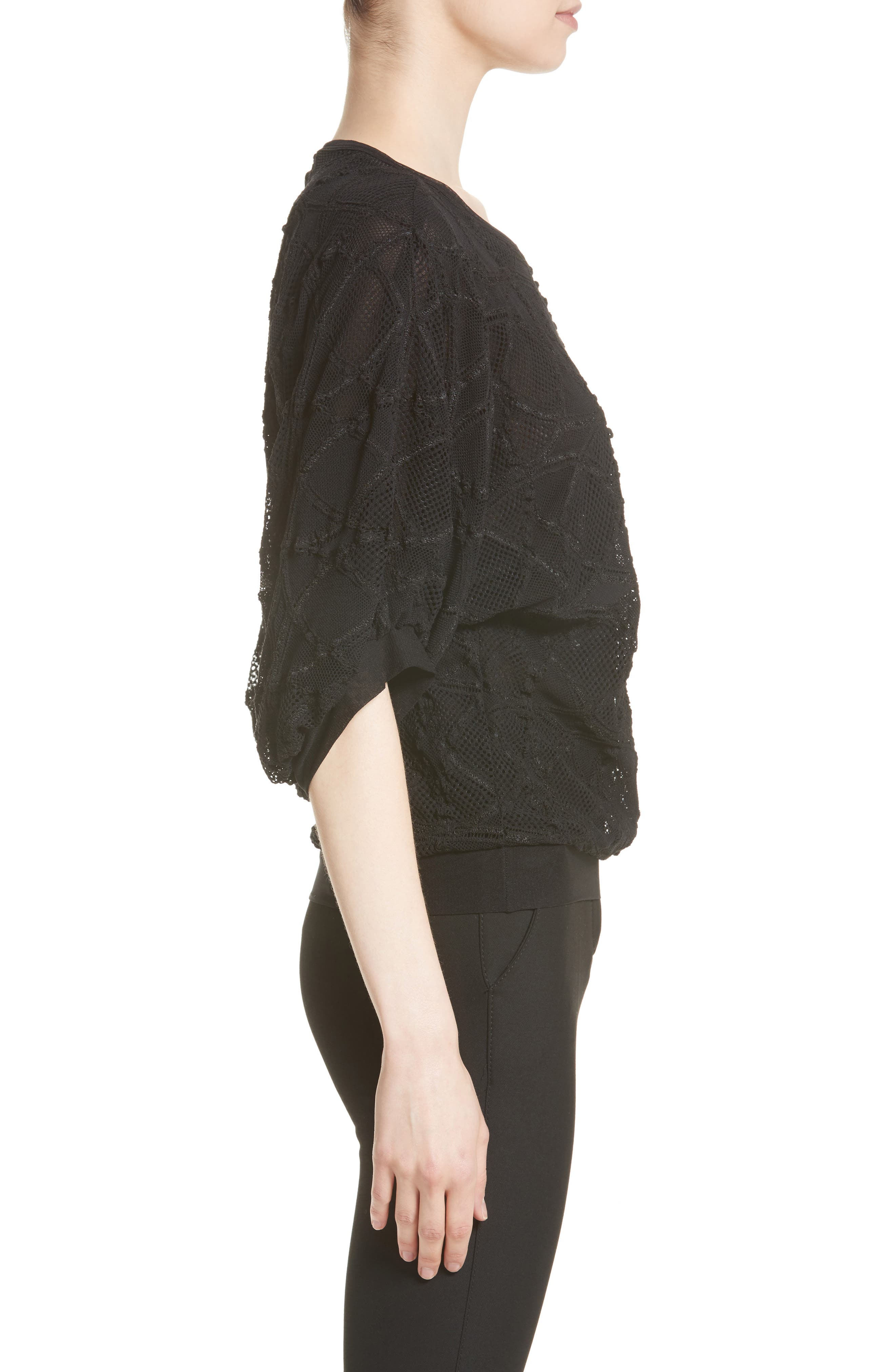 Lace Cocoon Sleeve Top,                             Alternate thumbnail 5, color,                             Nero