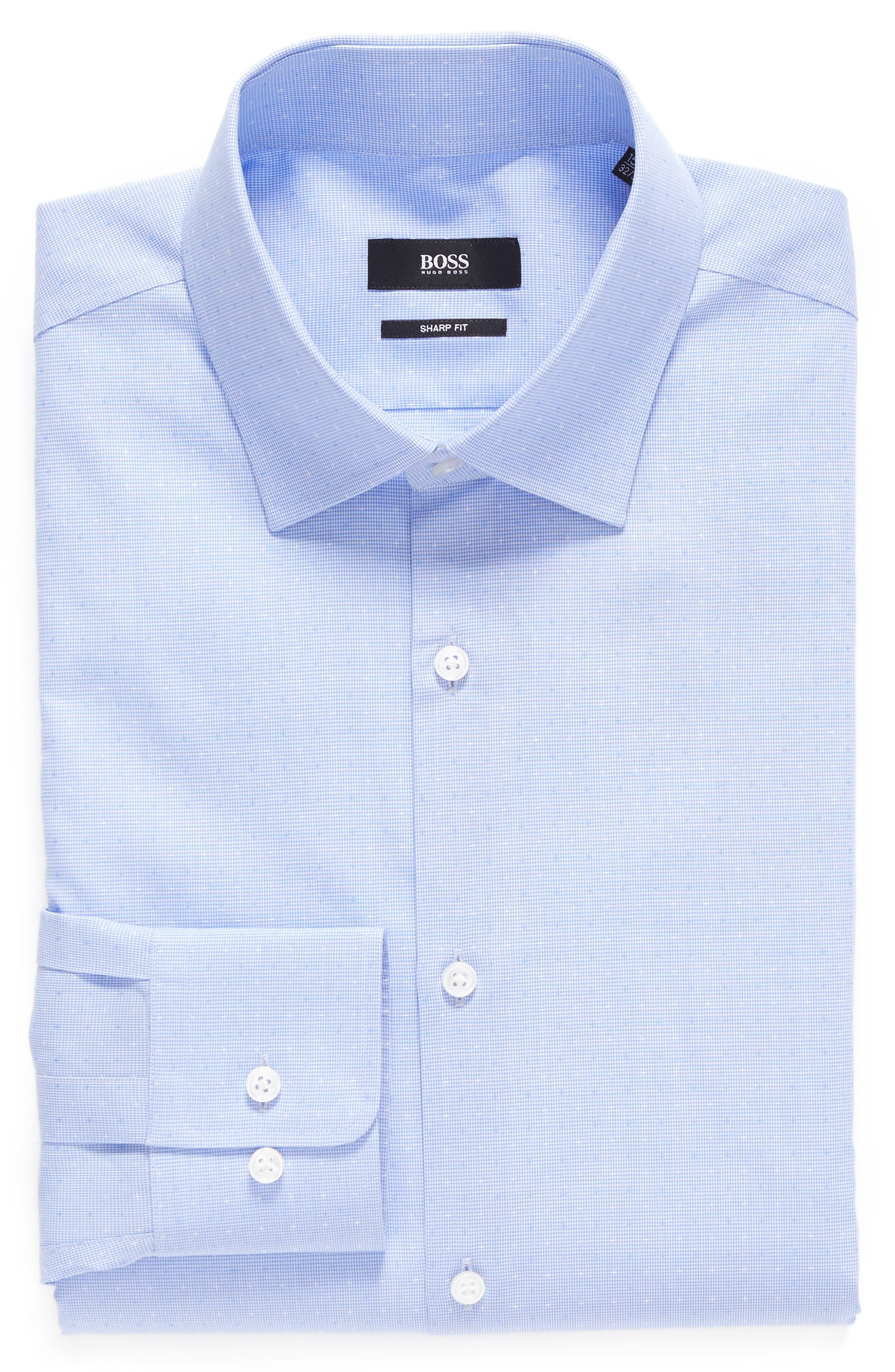 BOSS Sharp Fit Pattern Dress Shirt
