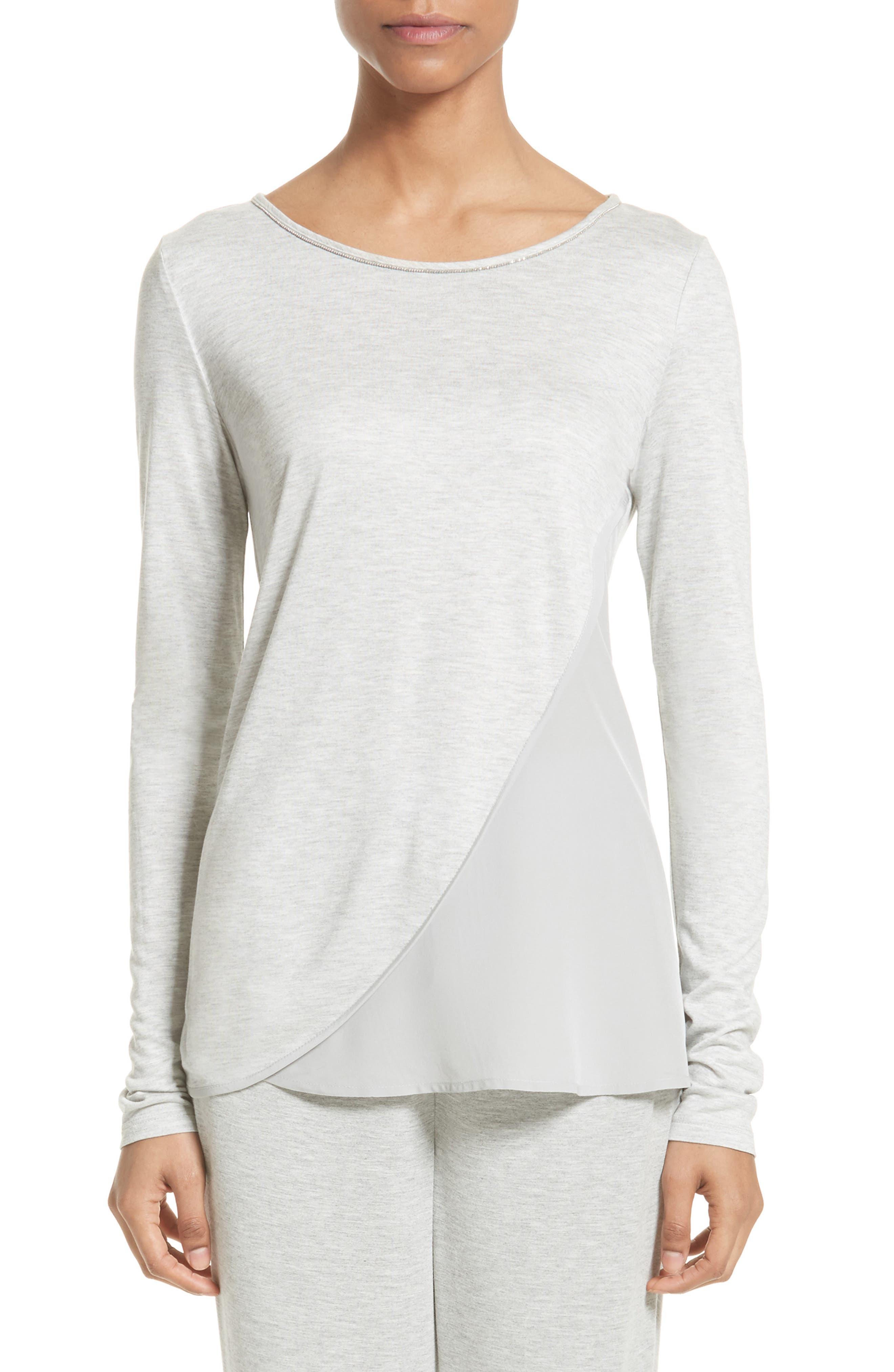 Sleek Jersey & Silk Top,                         Main,                         color, Light Grey Melange