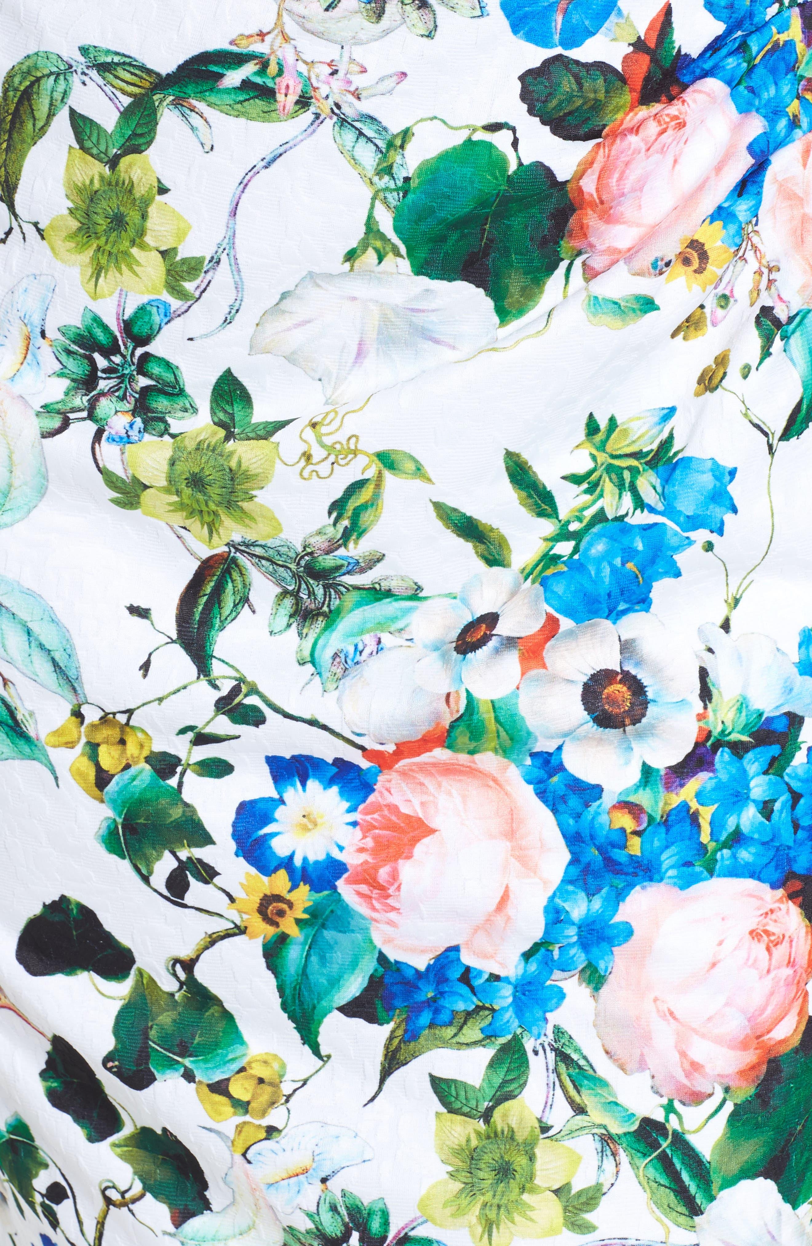 Side Pleat Floral Sheath Dress,                             Alternate thumbnail 5, color,                             Ivory Multi