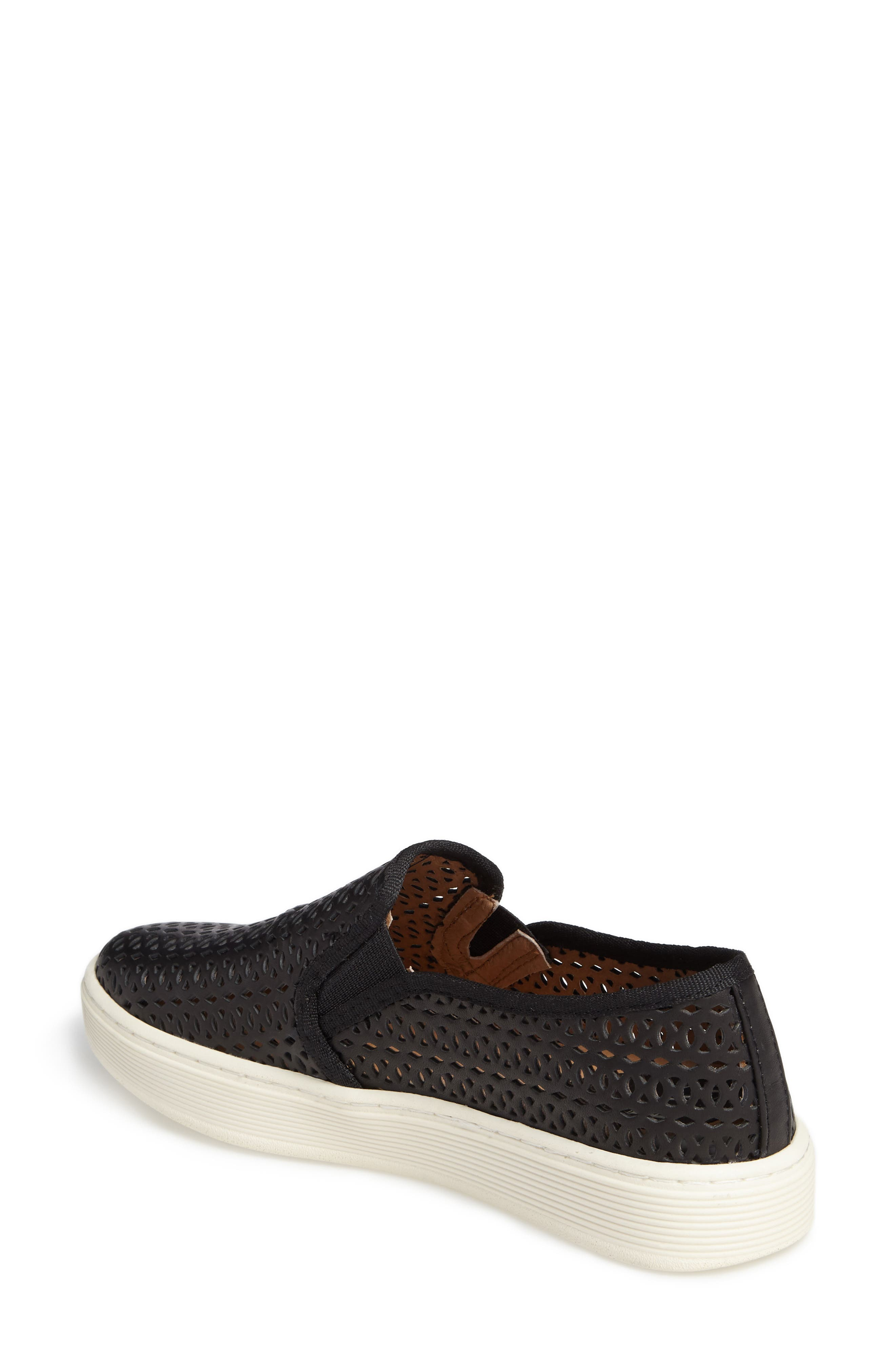 Somers II Slip-on Sneaker,                             Alternate thumbnail 2, color,                             Black Perforated Leather