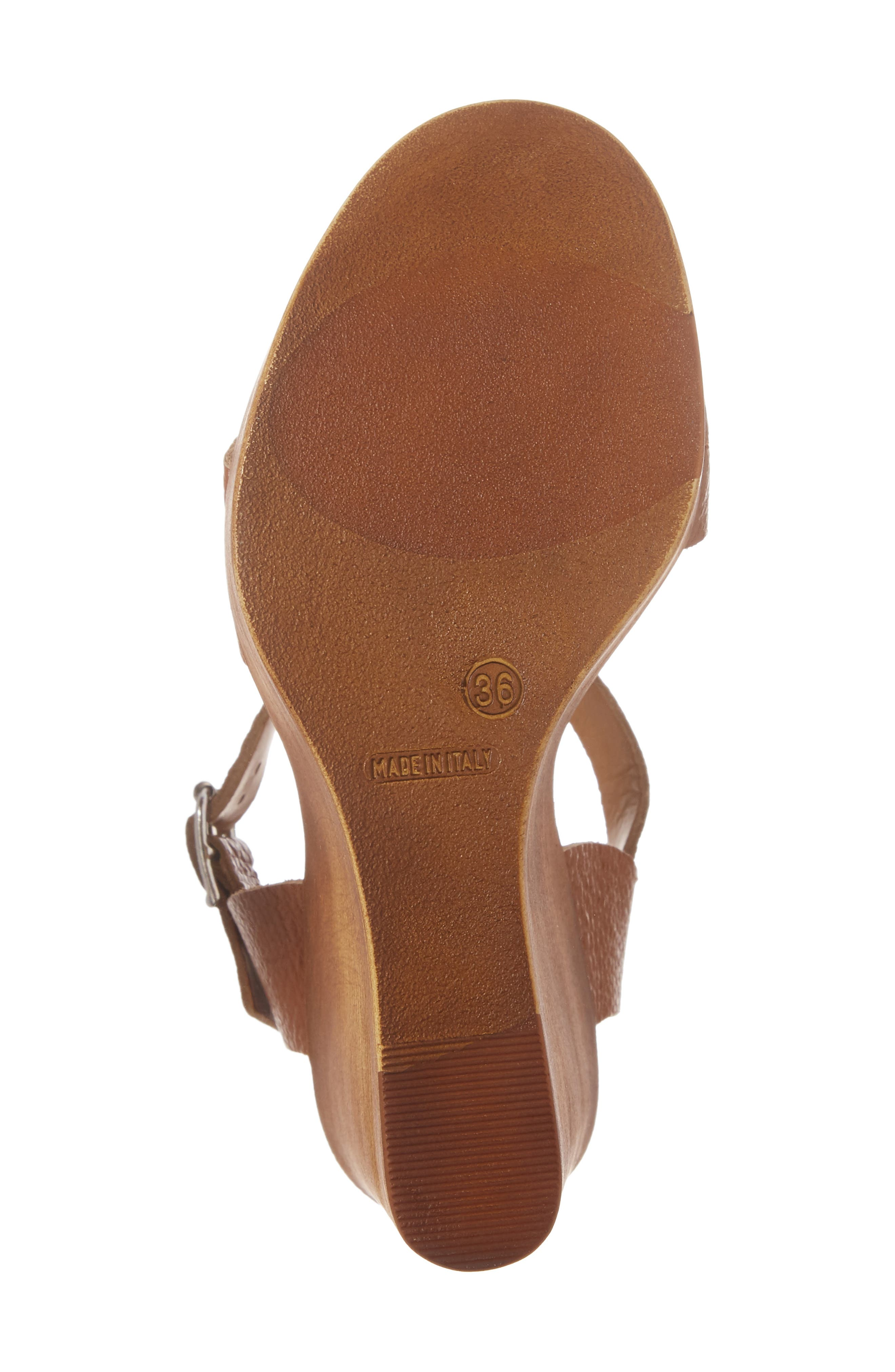 Belma Wedge Sandal,                             Alternate thumbnail 6, color,                             Tan Leather