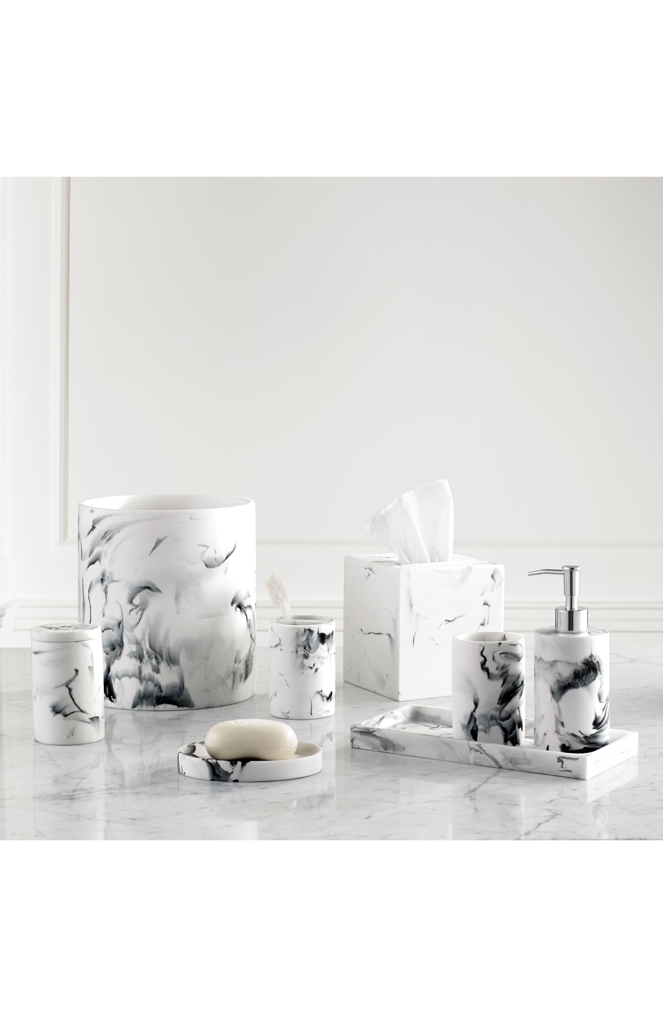 Arabesco Resin Cotton Jar,                             Alternate thumbnail 2, color,                             White/ Black
