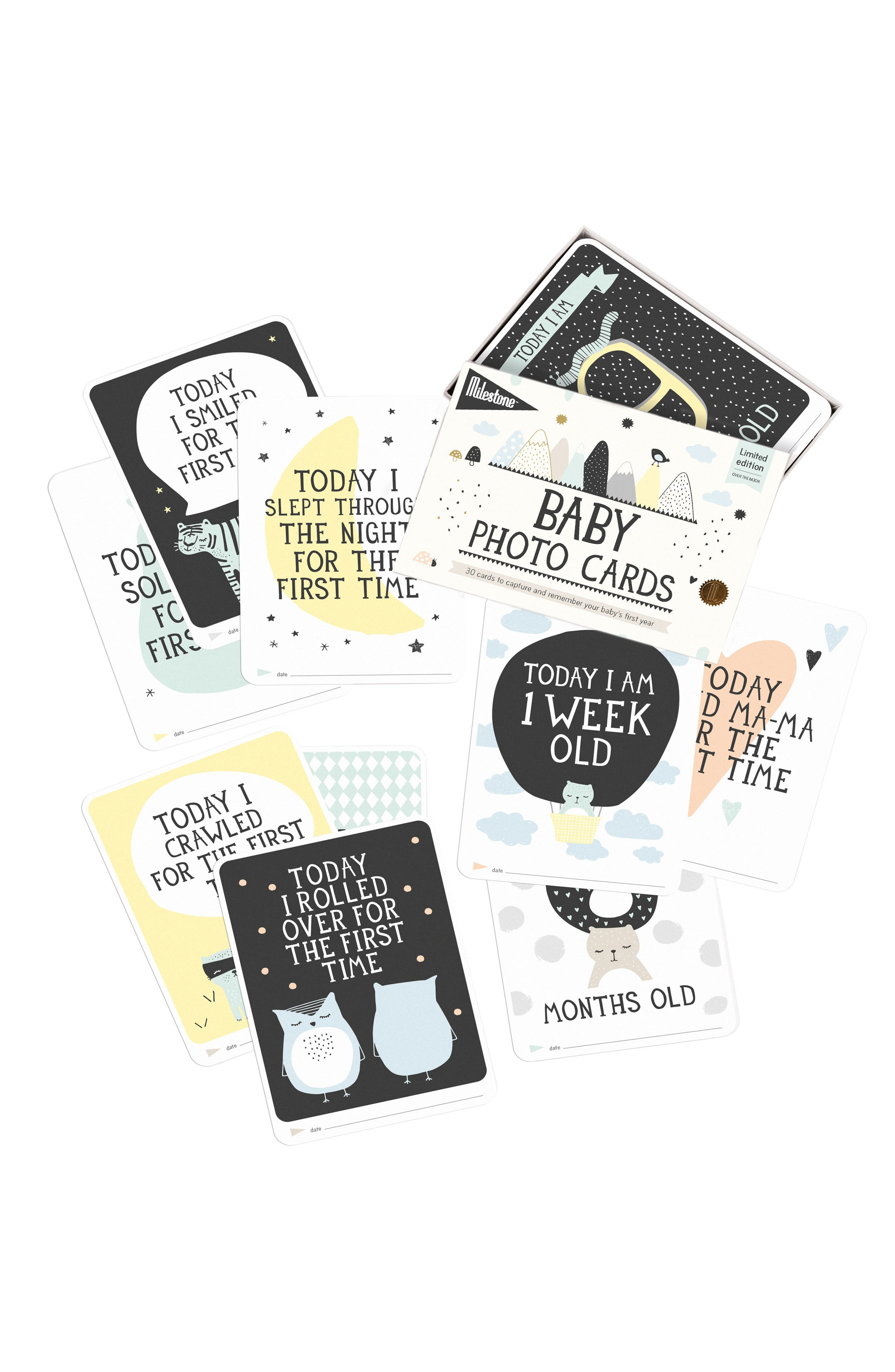 Milestone Set of 30 Baby's First Year Illustrated Cards,                             Alternate thumbnail 2, color,                             White