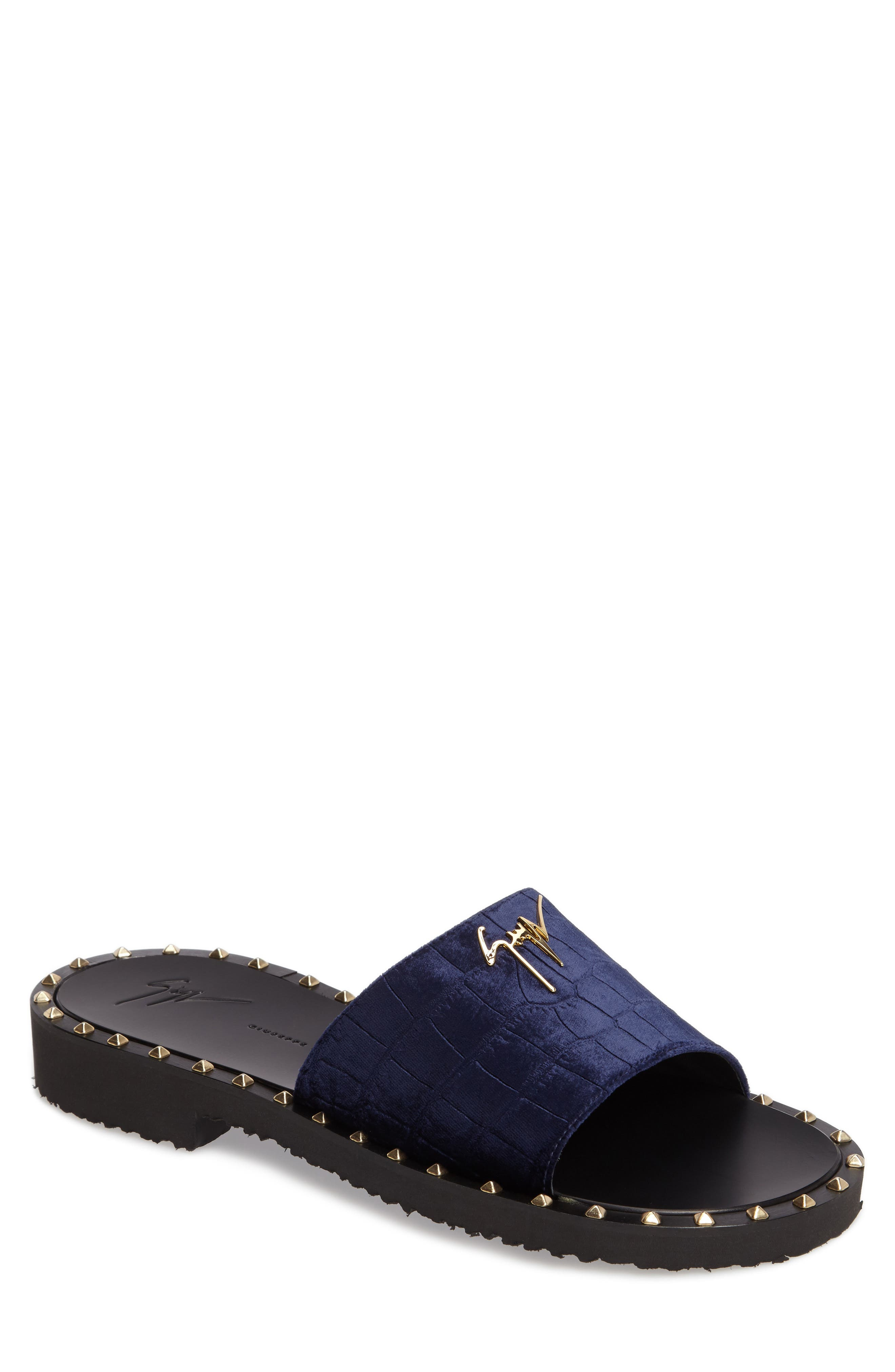Studded Slide Sandal,                         Main,                         color, Navy