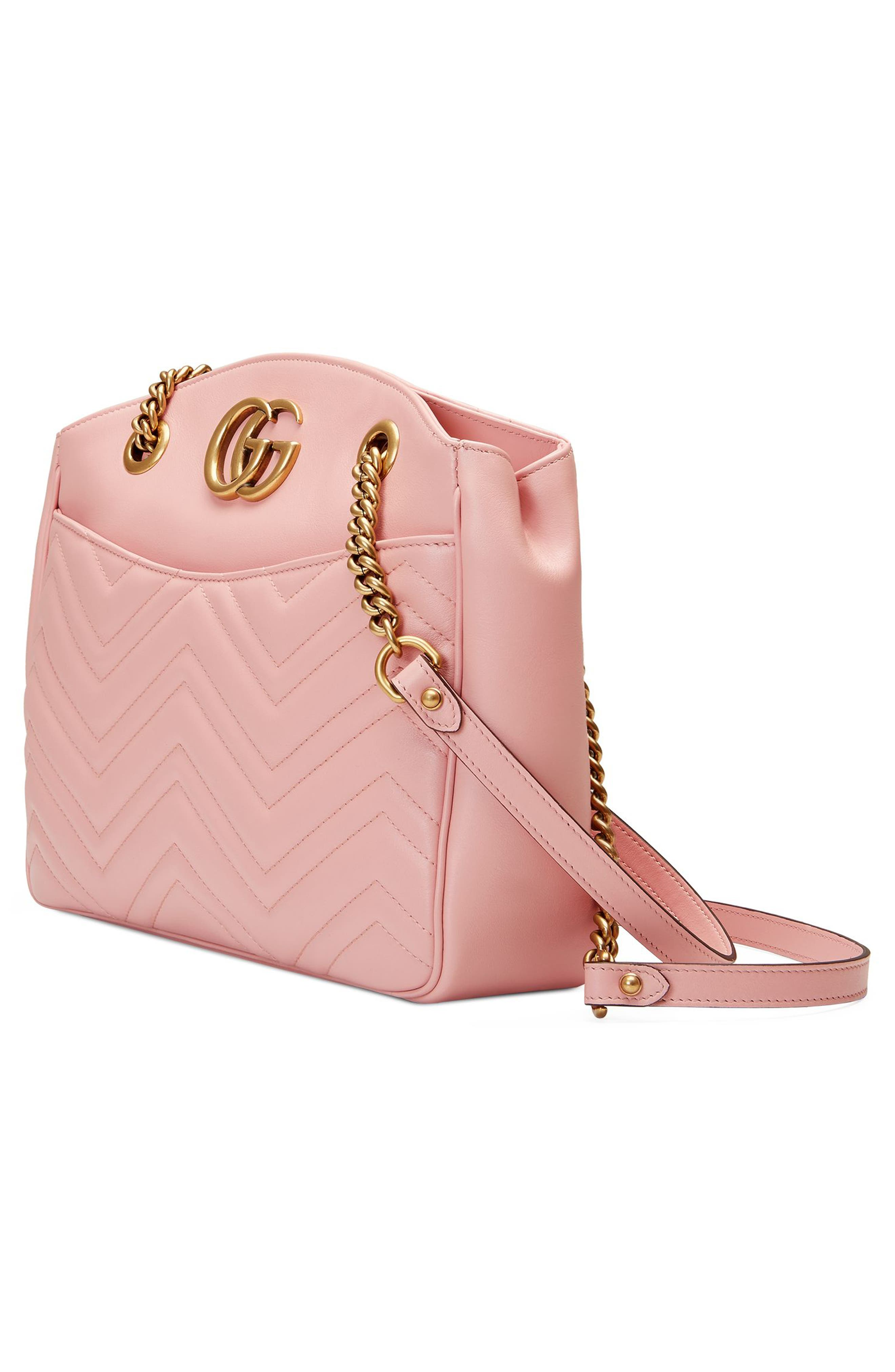 GG Marmont Matelassé Leather Shoulder Bag,                             Alternate thumbnail 4, color,                             Perfect Pink