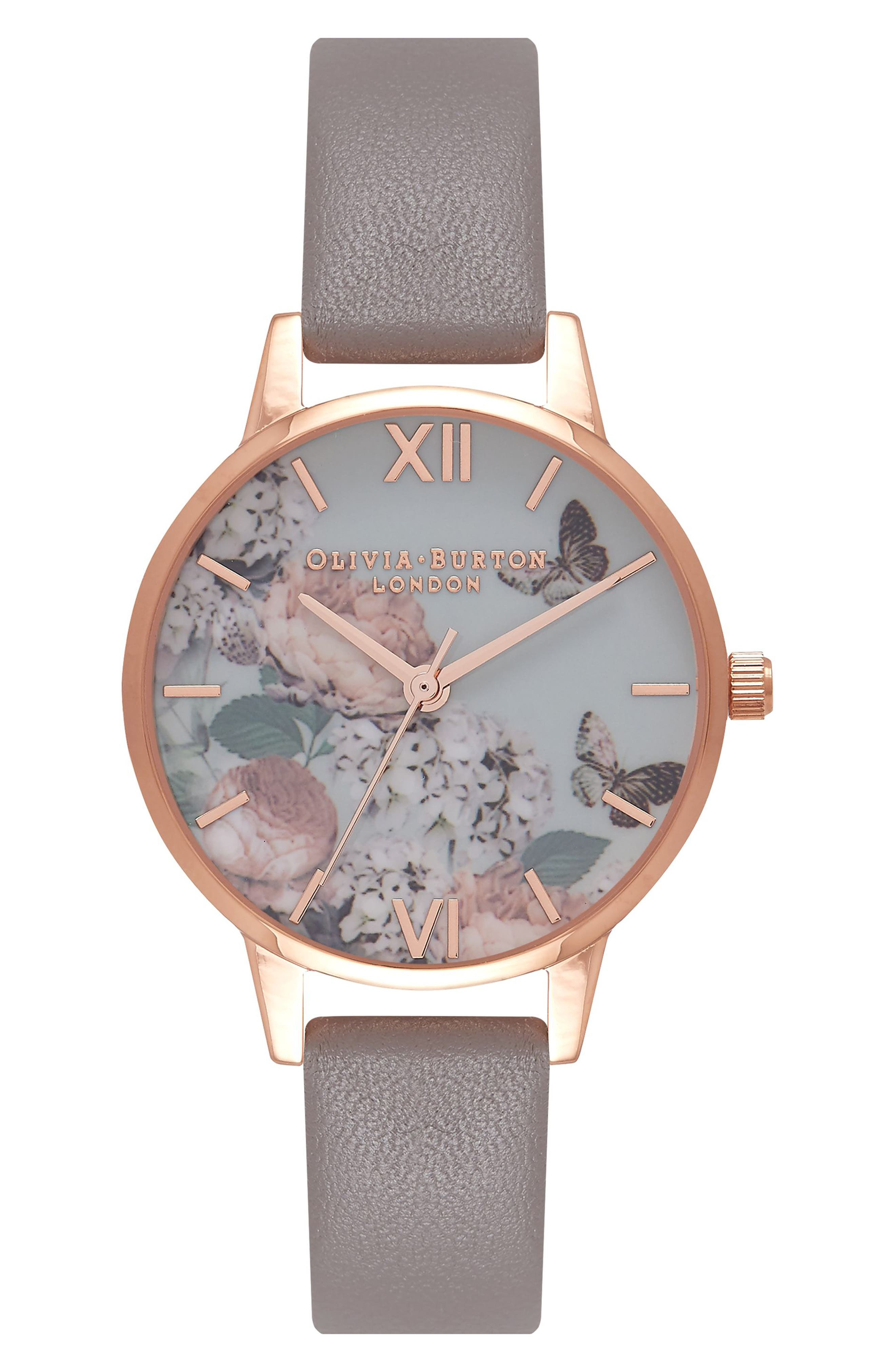 Enchanted Garden Leather Strap Watch, 30mm,                         Main,                         color, Grey/ Floral/ Rose Gold